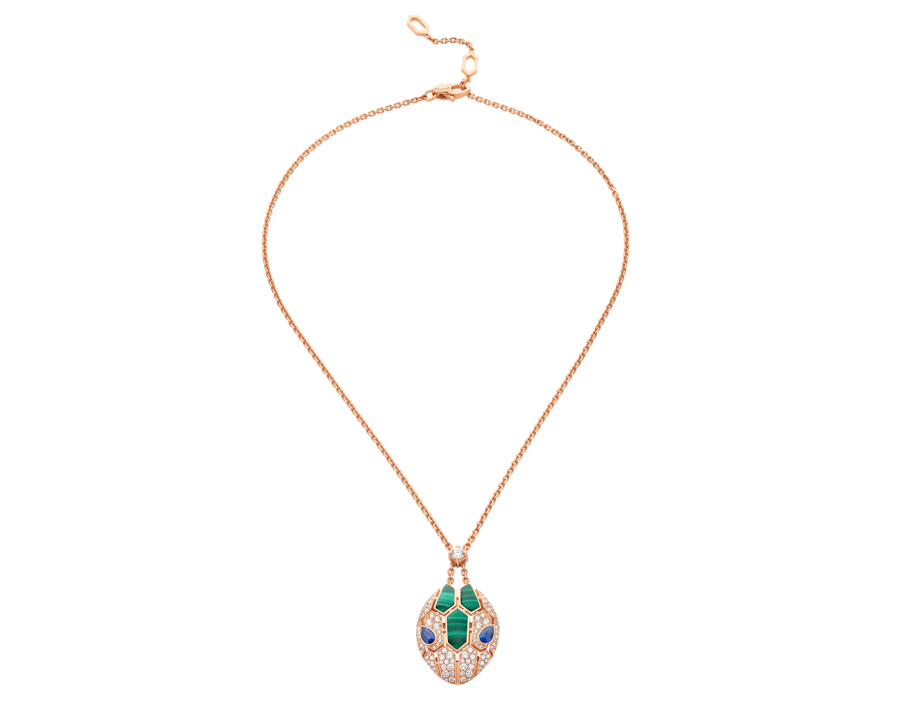 Serpenti 18 kt rose gold necklace set with blue sapphire eyes, malachite elements and pavé diamonds on the pendant. 356782 image 1