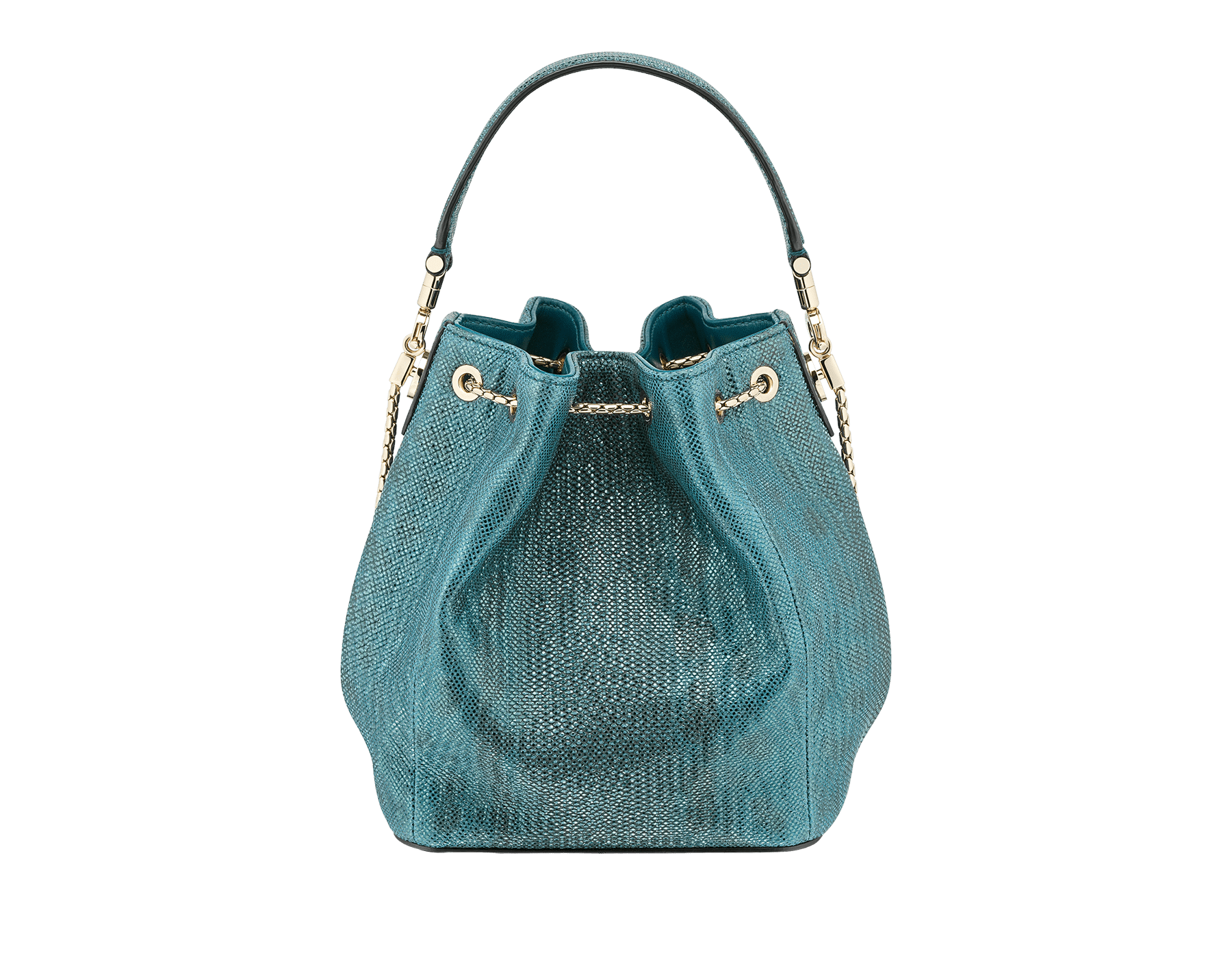 Bucket Serpenti Forever in deep jade metallic karung skin and deep jade nappa internal lining. Hardware in light gold plated brass and snakehead closure in black and glitter deep jade enamel, with eyes in black onyx. 287950 image 3