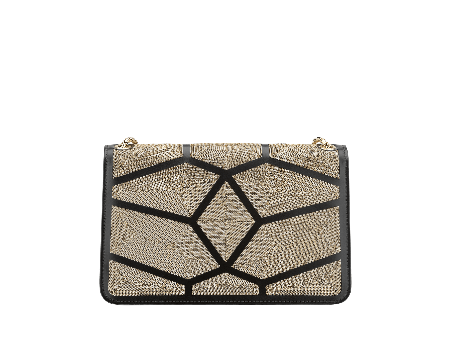 """Serpenti Forever"" crossbody bag in black calf leather with a Million Chain motif. Iconic snake head closure in light gold plated brass enriched with black enamel and black onyx eyes. 288909 image 3"