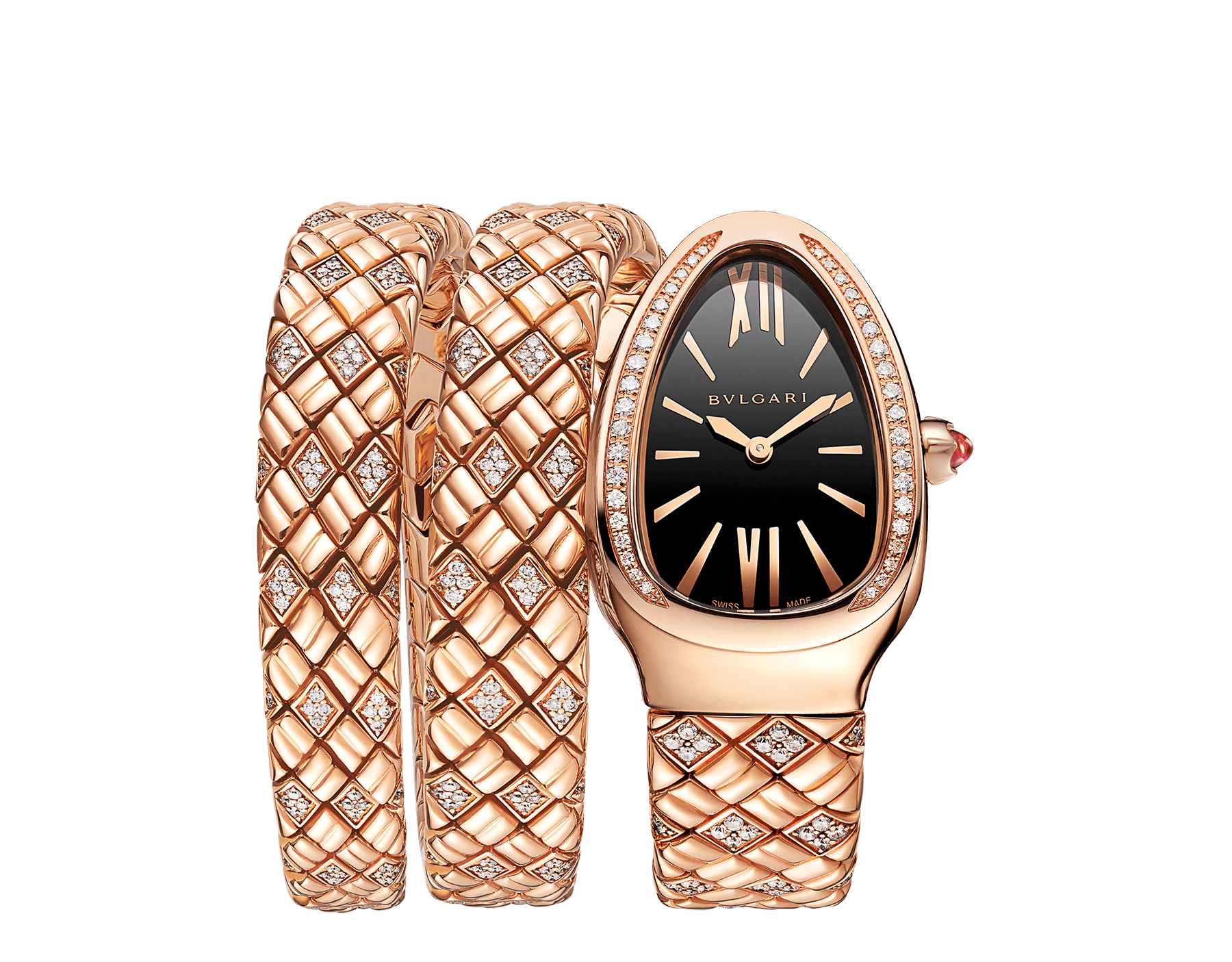 Serpenti Spiga double-spiral watch with 18 kt rose gold case and bracelet set with diamonds, and black dial 103252 image 1