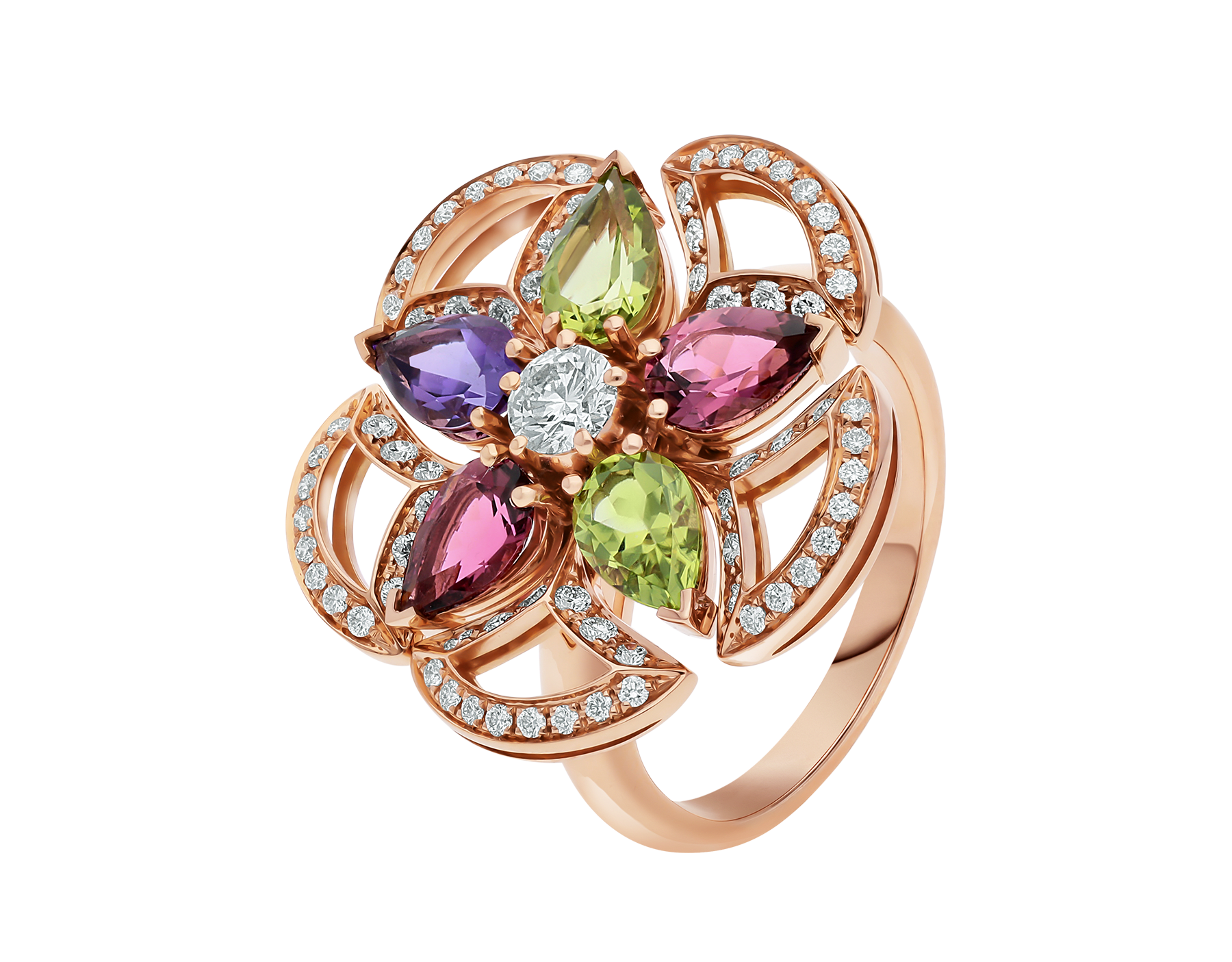 DIVAS' DREAM 18 kt rose gold ring set with coloured gemstones, a brilliant-cut diamond and pavé diamonds AN858421 image 1