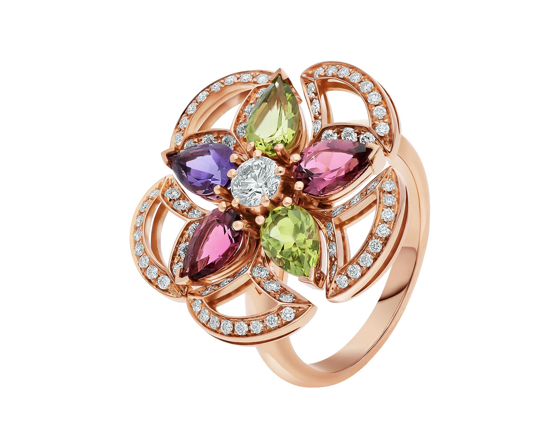 Bague DIVAS' DREAM en or rose 18K sertie de pierres de couleur, diamant taille brillant et pavé diamants AN858421 image 1