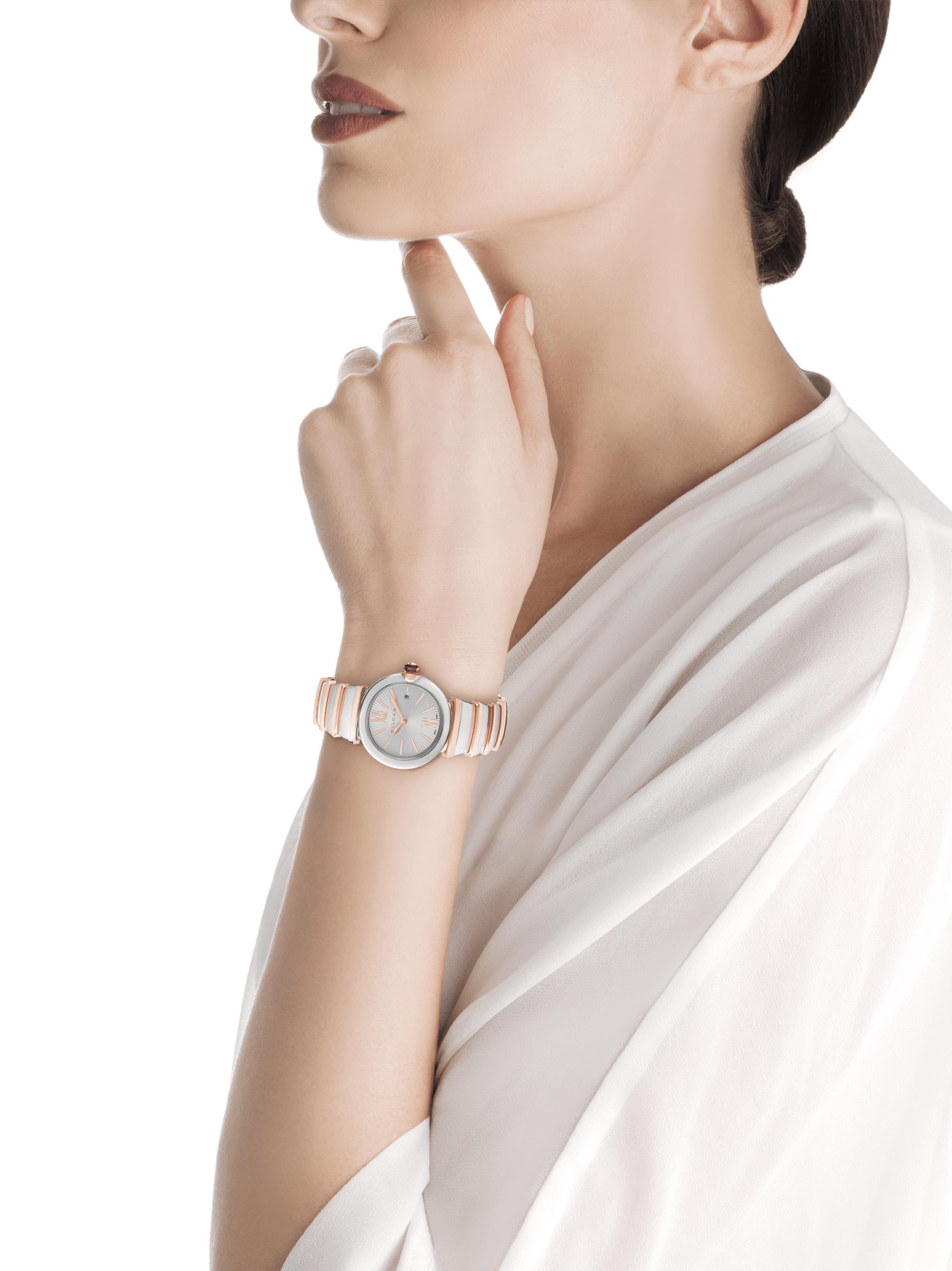 Montre LVCEA avec boîtier en acier inoxydable, cadran en opaline argentée et bracelet en or rose 18K et acier inoxydable. 102193 image 4