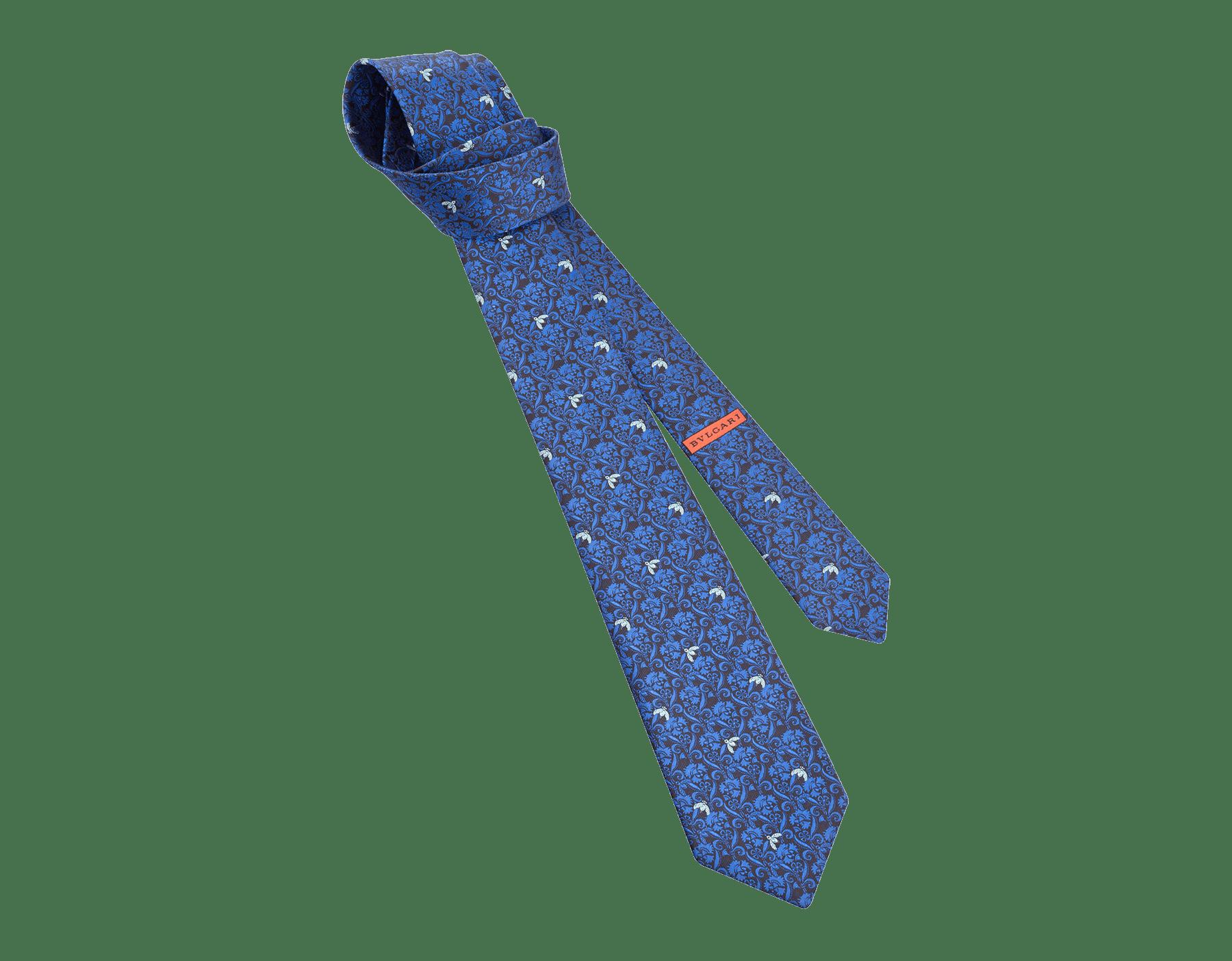 Cravate sept plis Bee Lux bleue en jacquard de soie fine. 244077 image 1