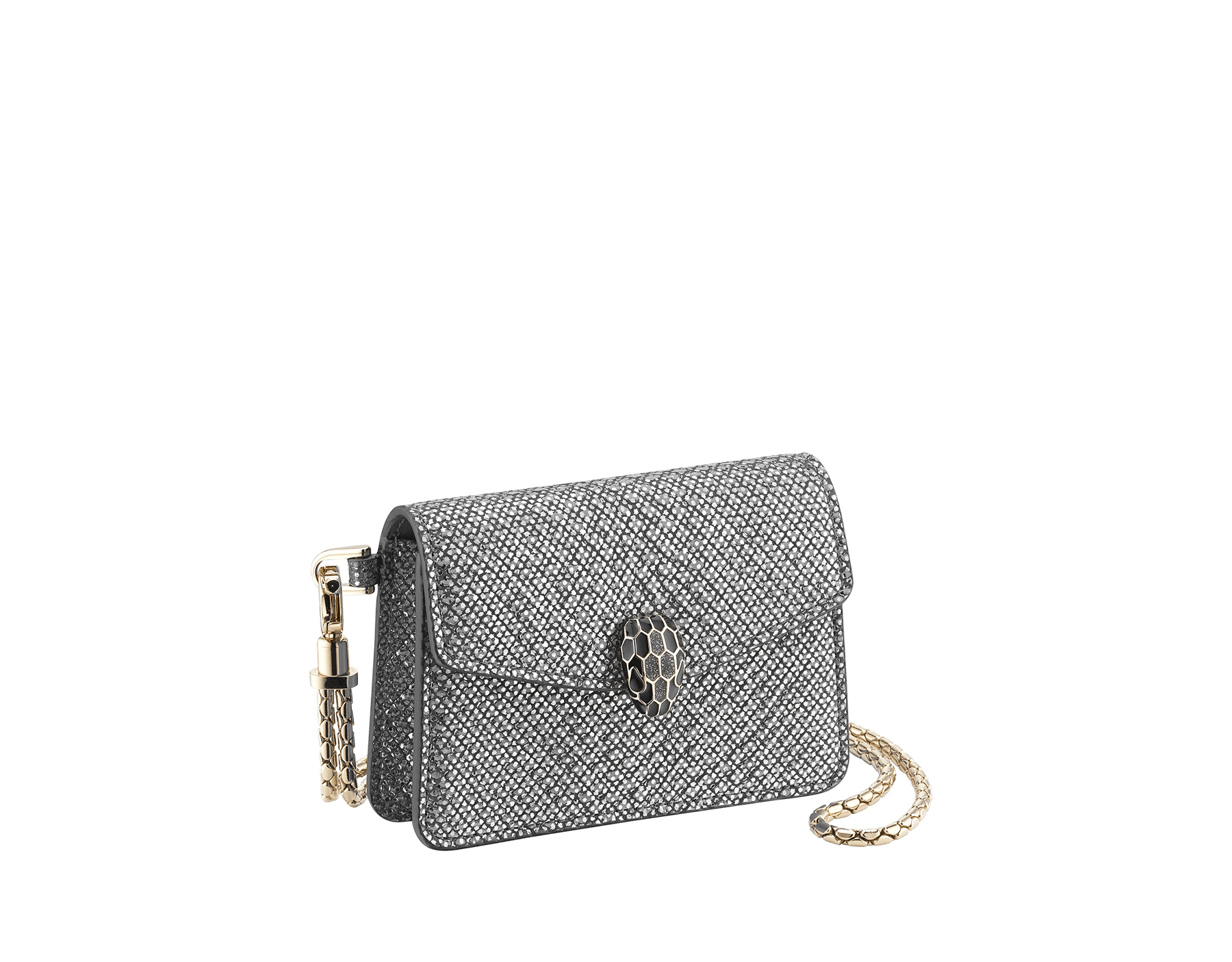 Serpenti Forever Travel Holders Kit in charcoal diamond metallic karung skin. Iconic snake head closure in black and glitter charcoal diamond enamel, with black enamel eyes. 289324 image 1
