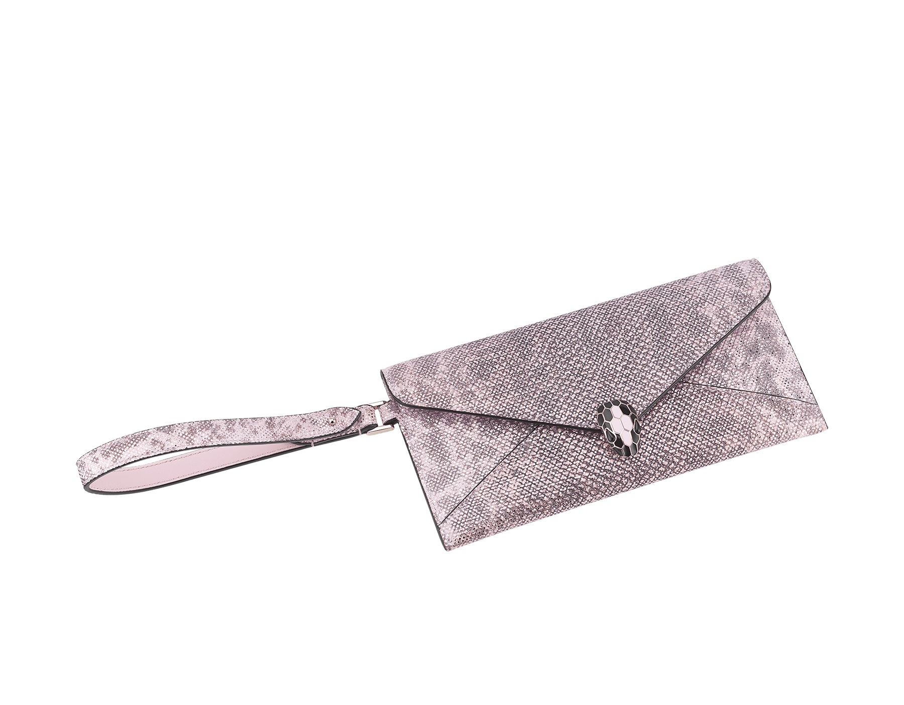 Serpenti Forever envelope case in rosa di francia metallic karung skin and rosa di francia calf leather. Iconic snakehead charm in black and rosa di francia enamel, with black onyx eyes. 289083 image 1