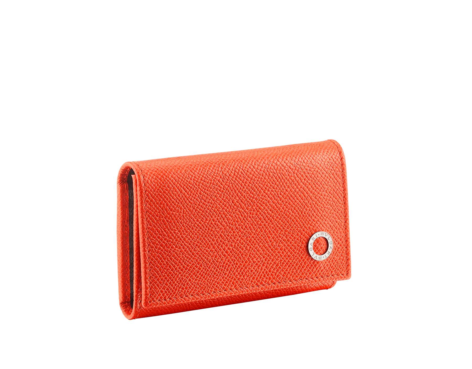 BVLGARI BVLGARI double keyholder in fire amber and charcoal diamond grain calf leather. Detachable car keyholder in palladium plated brass. 289134 image 1