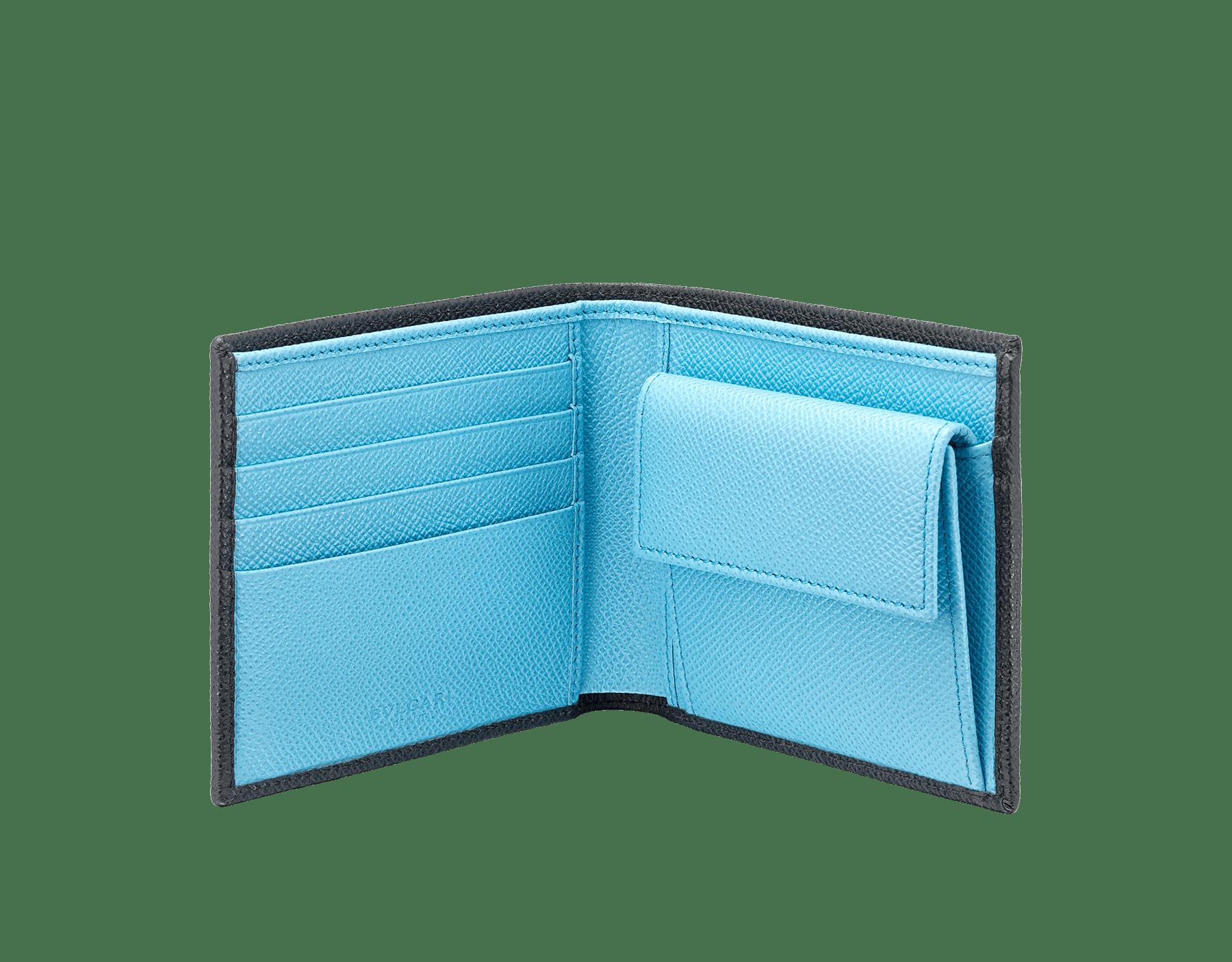 """BVLGARI BVLGARI"" compact wallet in Charcoal Diamond grey and light Aegean Topaz blue grained calfskin. Iconic logo-bearing embellishment in palladium-plated brass. 290587 image 2"