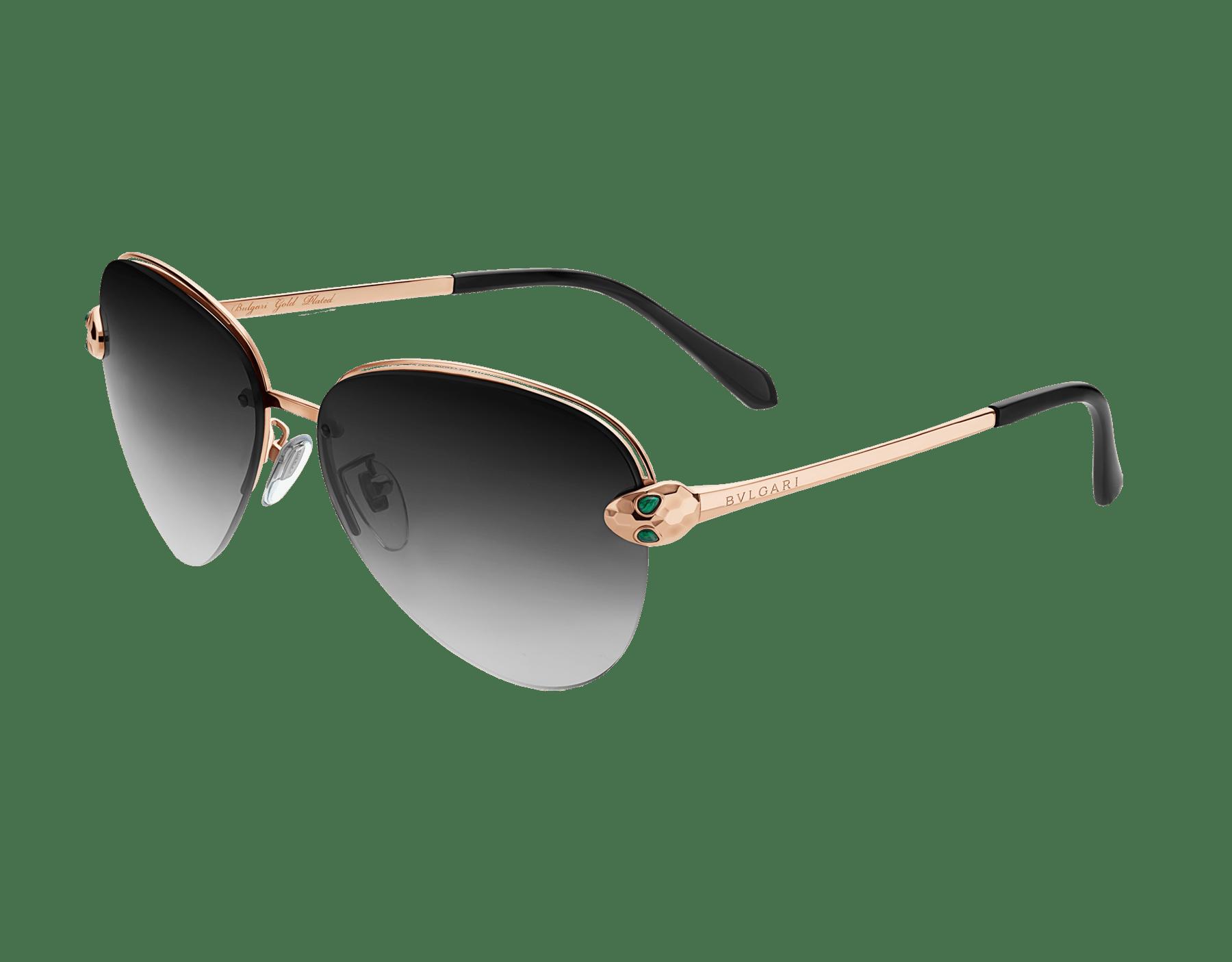 Vergoldete Bvlgari Le Gemme Piloten-Sonnenbrille mit einem Serpenti Schmuckdekor mit Malachit. 903841 image 1