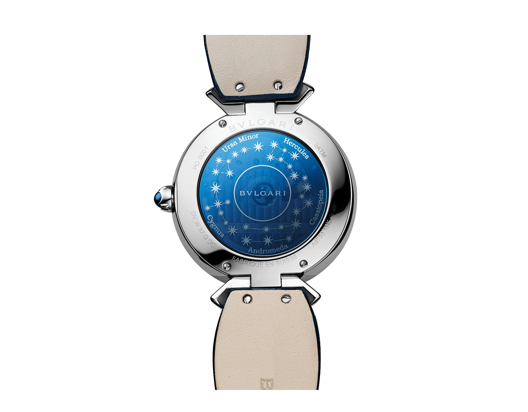DIVAS' DREAM腕表,搭载品牌自制的自动上链机械机芯,18K白金表壳,镶嵌圆形明亮式切割钻石和蓝宝石,砂金石旋转表盘镶嵌钻石,并饰以星座图案,深蓝色鳄鱼皮表带 102842 image 3