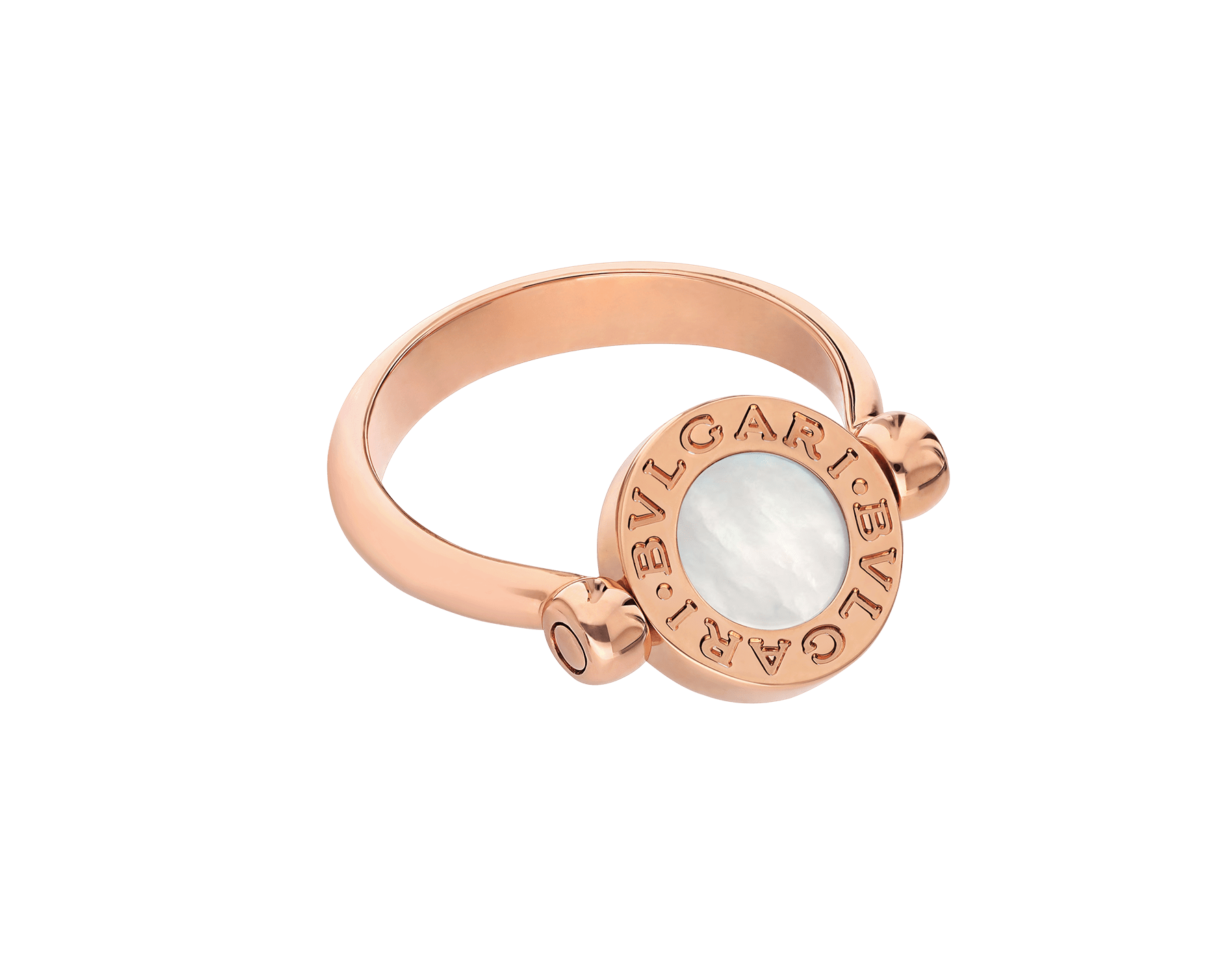 BVLGARI BVLGARI 18 kt rose gold flip ring set with mother-of-pearl and pavé diamonds AN857171 image 4