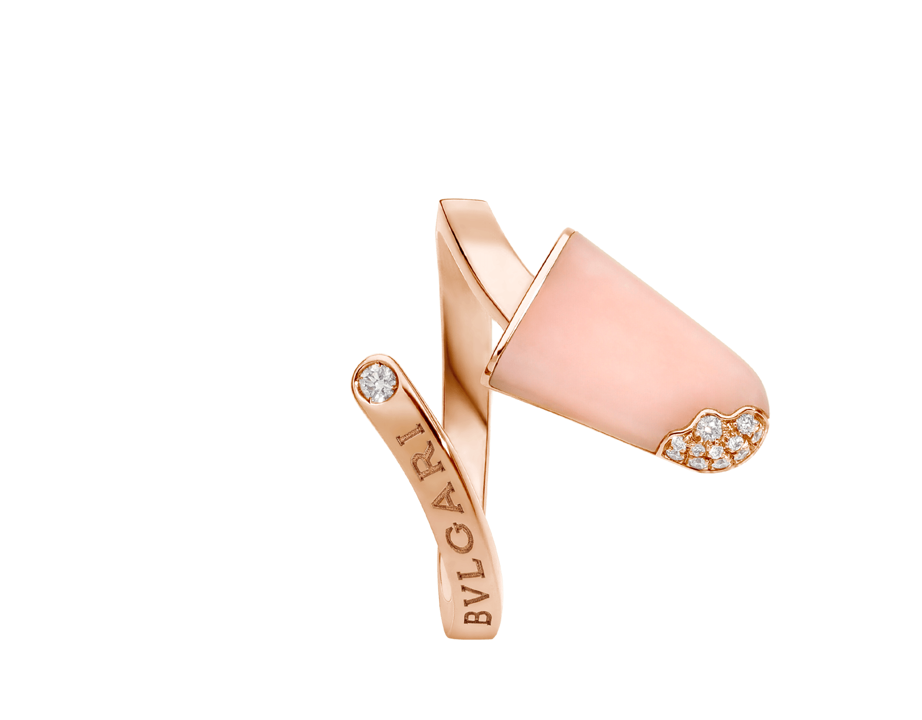 BVLGARI BVLGARI 18 kt rose gold ring set with pink opal and pavé diamonds AN858657 image 3