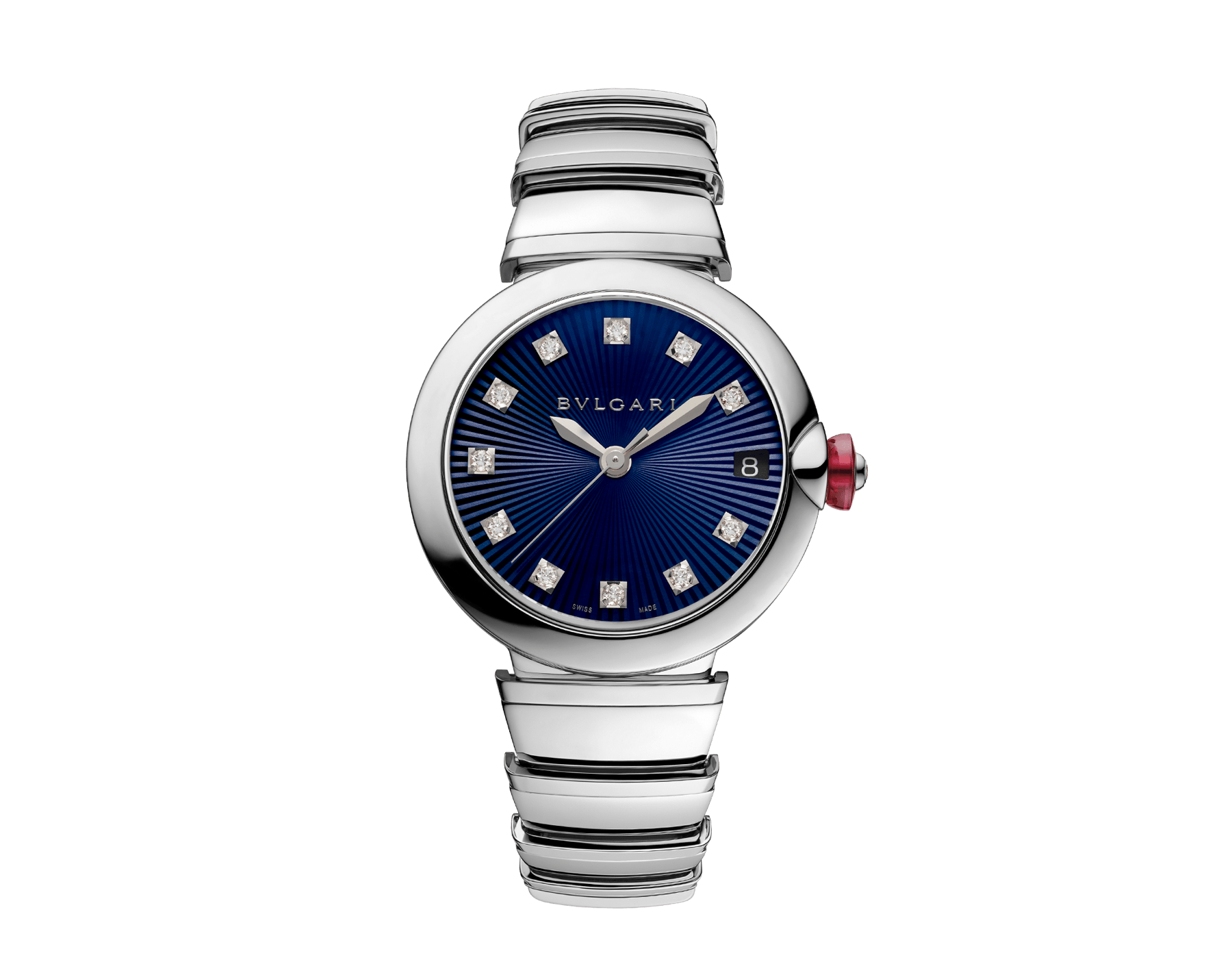 LVCEA watch in stainless steel case and bracelet, with blue dial and diamond indexes. 102564 image 1