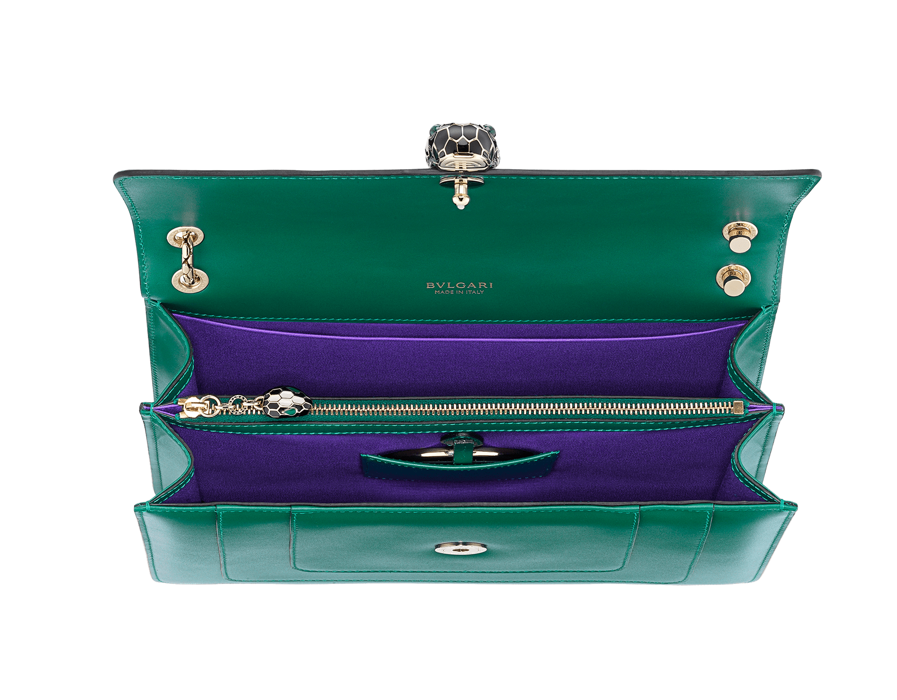 """""""Serpenti Forever"""" shoulder bag in black calf leather with emerald green gros grain internal lining. Iconic snakehead closure in light gold plated brass enriched with black and white agate enamel and green malachite eyes. 1089-Cla image 3"""