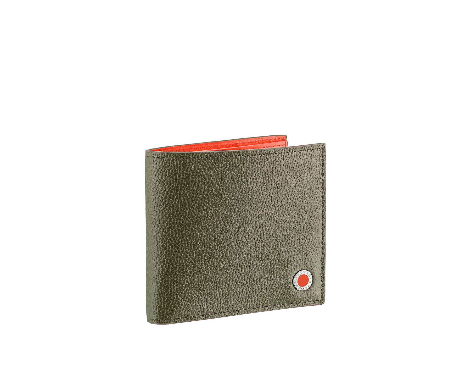 """BVLGARI BVLGARI"" compact wallet in mimetic jade soft full grain calf leather and fire amber calf leather. Iconic logo decoration in palladium plated brass coloured in fire amber enamel. BBM-WLT-ITAL-sgcl image 1"