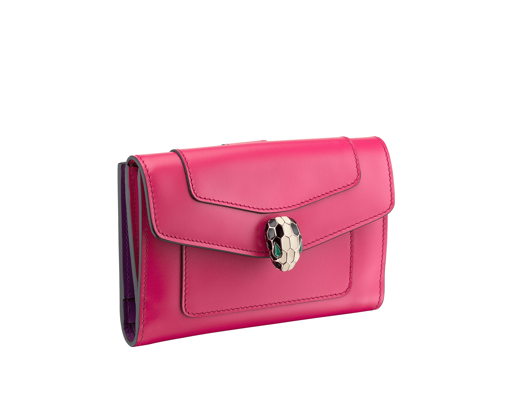 Serpenti Forever compact pochette in jazzy tourmaline and aster amethyst calf leather. Iconic snakehead stud closure in black and white enamel, with green malachite eyes. 287142 image 1