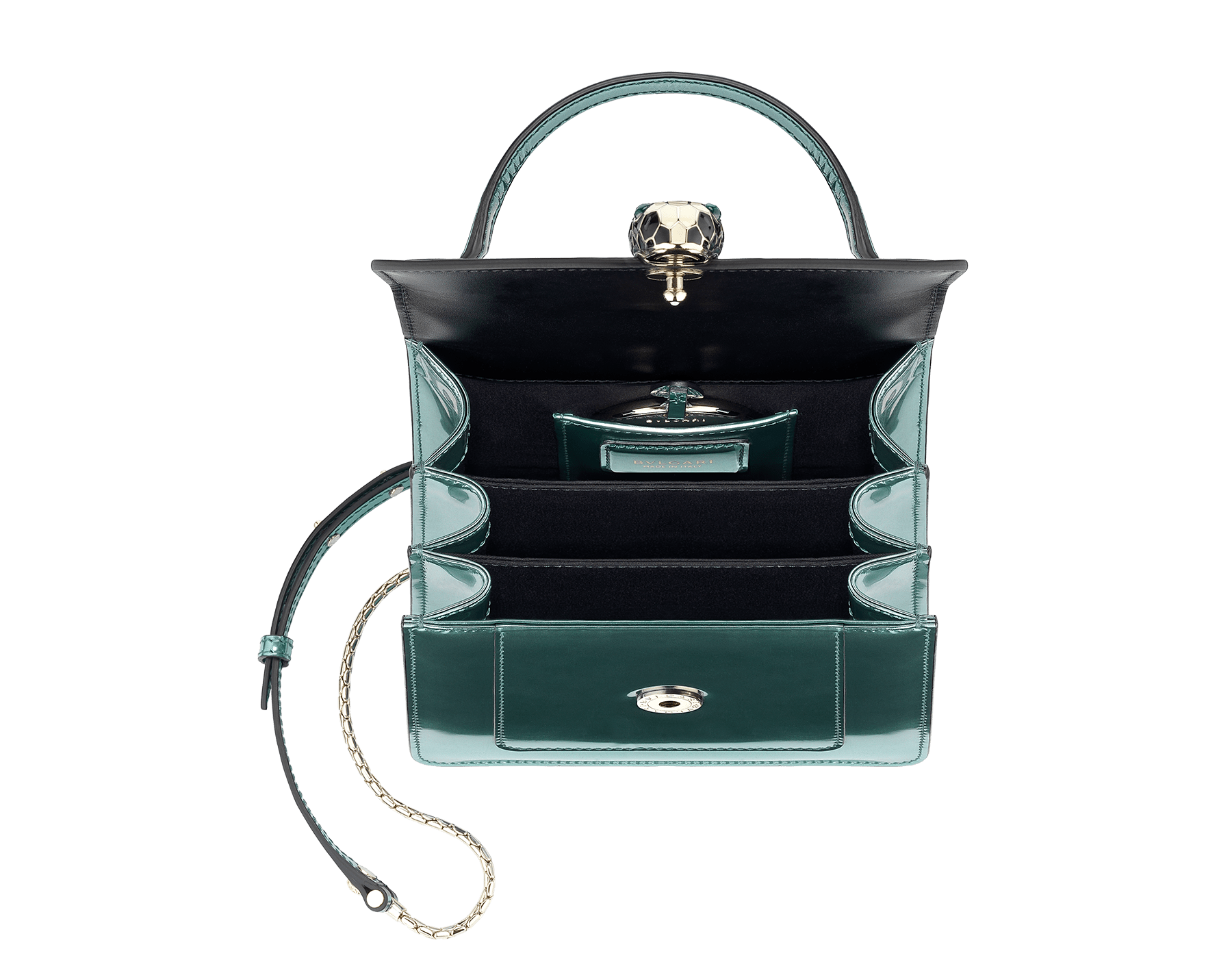 """""""Serpenti Forever """" crossbody bag in glacier turquoise brushed metallic calf leather. Iconic snakehead closure in light gold plated brass enriched with black and white enamel and green malachite eyes. 287045 image 2"""