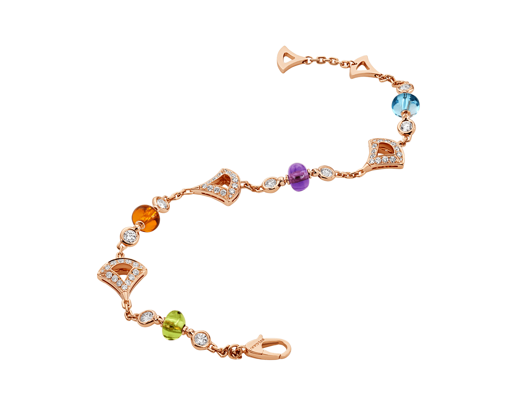 DIVAS' DREAM 18 kt rose gold bracelet set with coloured gemstones and pavé diamonds BR858399 image 2