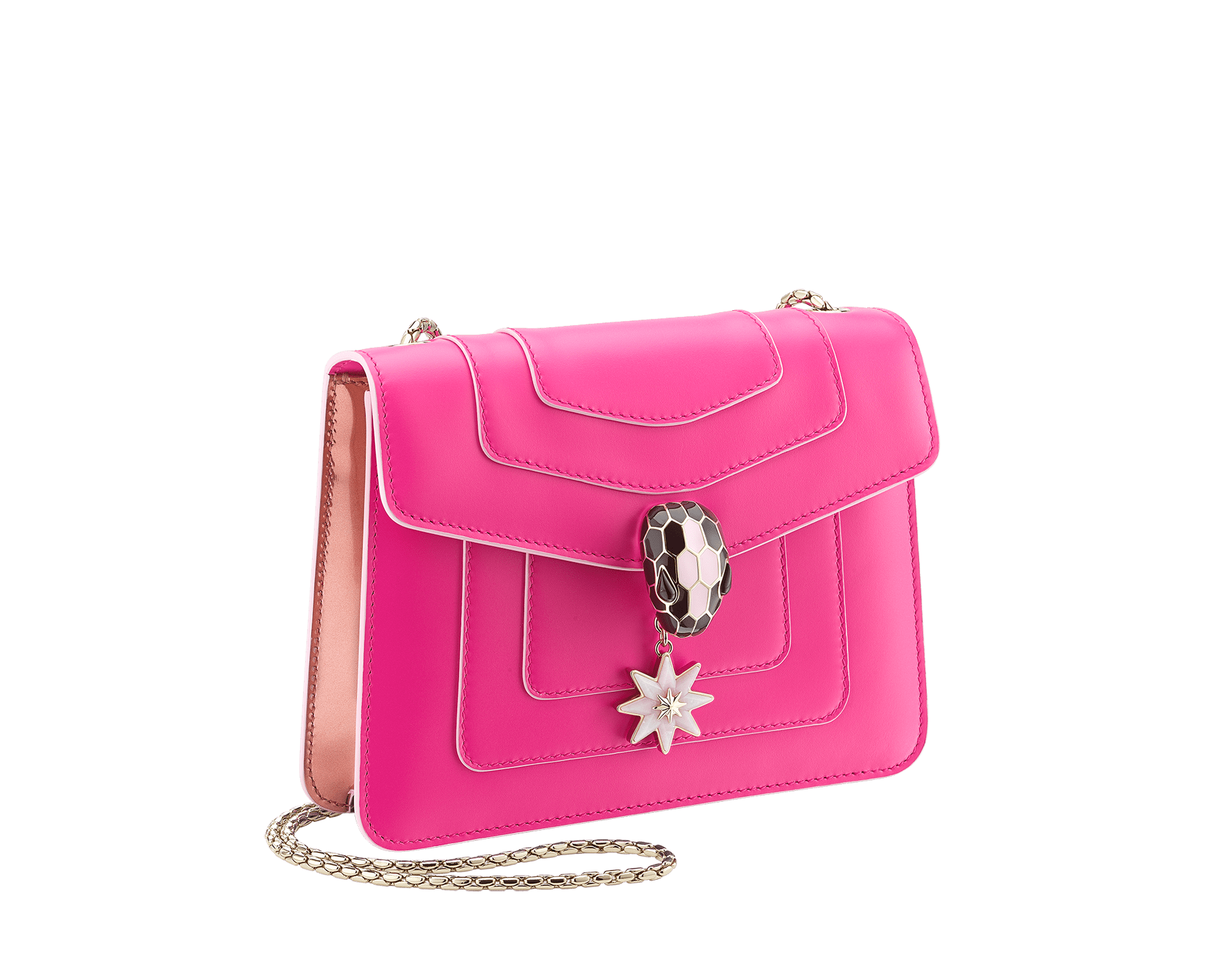 Serpenti Forever Holiday Season crossbody bag in flash amethyst calf leather and rose quartz brushed metallic calf leather. Snakehead closure in light gold plated brass embellished with black and sakura pink enamel, black onyx eyes and a pink opal eight-pointed star charm. 289367 image 2