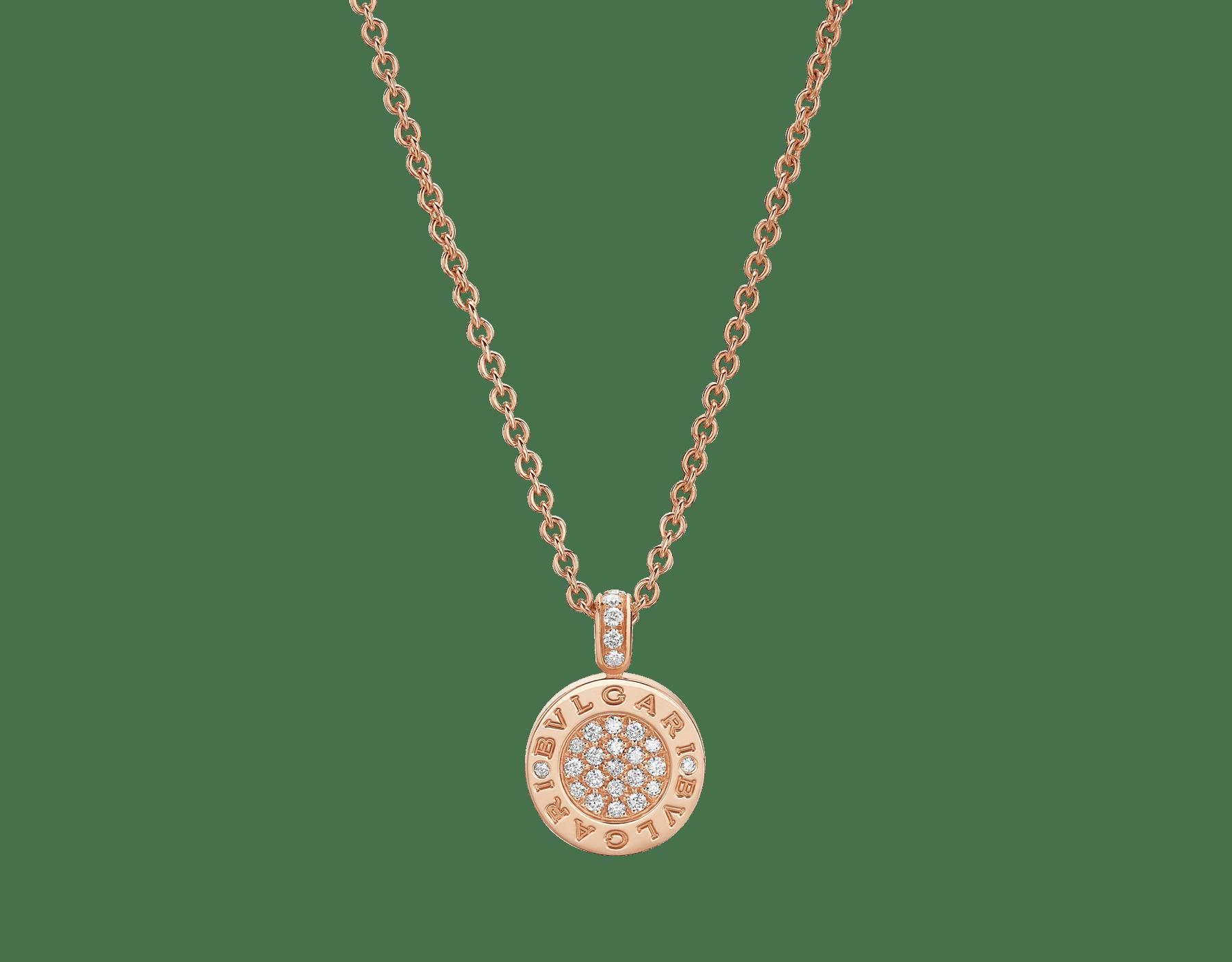 Collier BVLGARI BVLGARI avec chaîne en or rose 18K et pendentif en or rose 18K serti d'éléments en jade et pavé diamants 350681 image 2