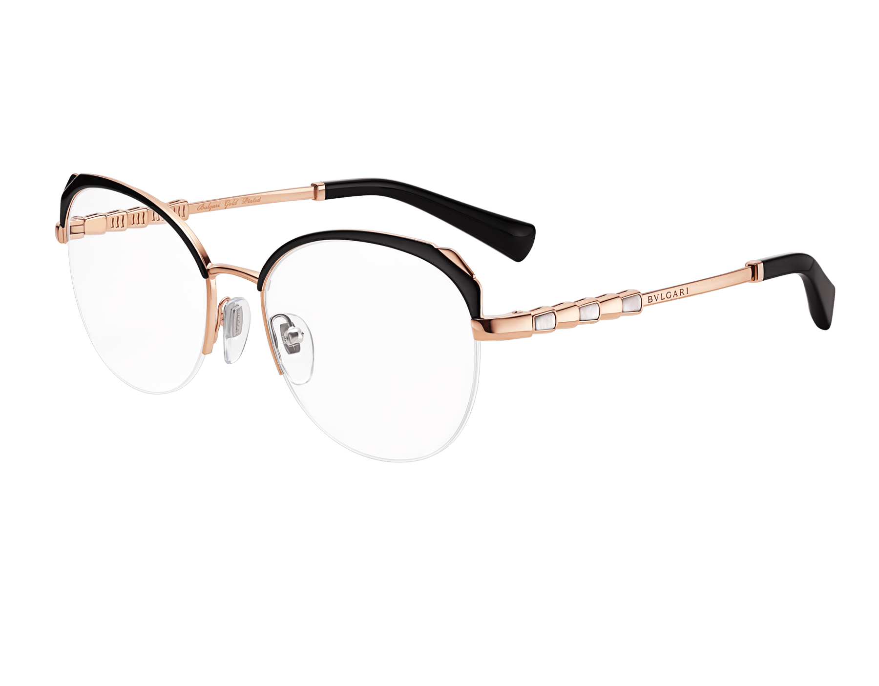 "Le Gemme Serpenti ""Spell"" gold plated rounded cat-eye glasses with mother-of-pearl inserts. 904050 image 1"