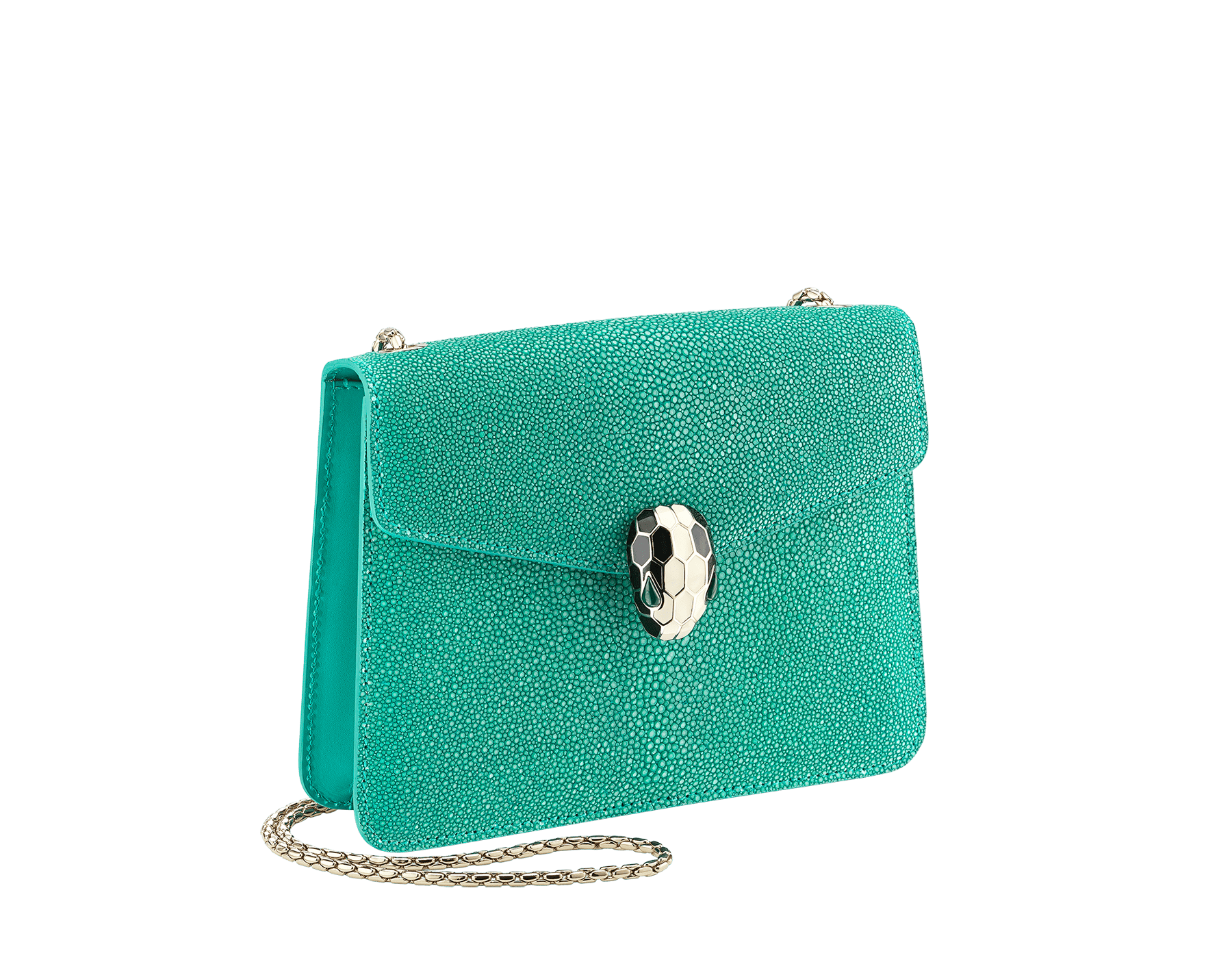 Serpenti Forever crossbody bag in tropical turquoise galuchat skin. Snakehead closure in light gold plated brass decorated with black and white enamel, and green malachite eyes. 288067 image 2