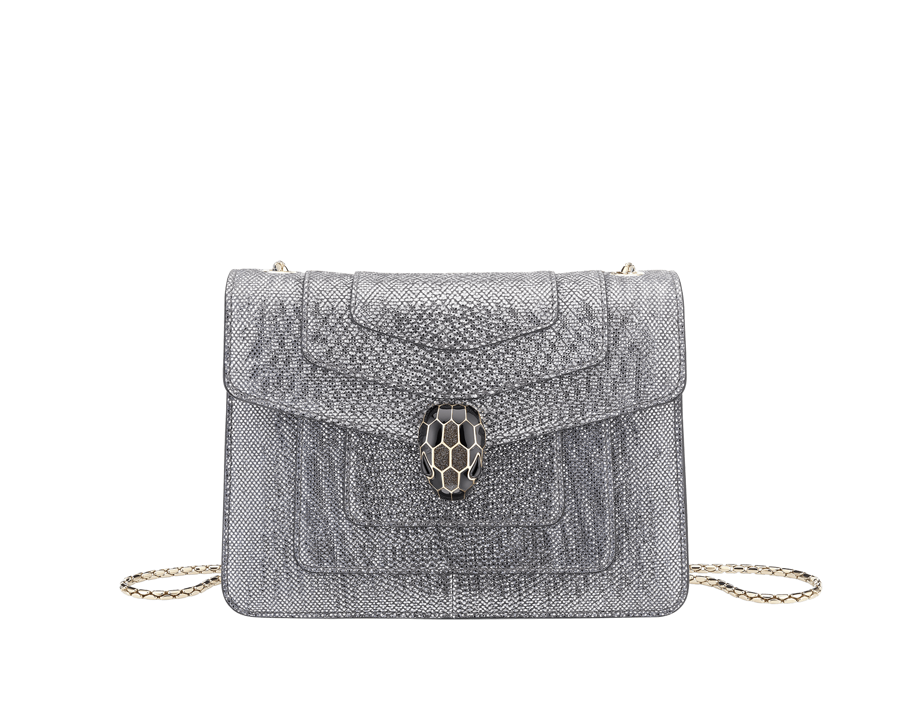Serpenti Forever crossbody bag in charcoal diamond metallic karung skin. Snakehead closure in light gold plated brass decorated with glitter charcoal diamond and shiny black enamel, and black onyx eyes. 287939 image 1