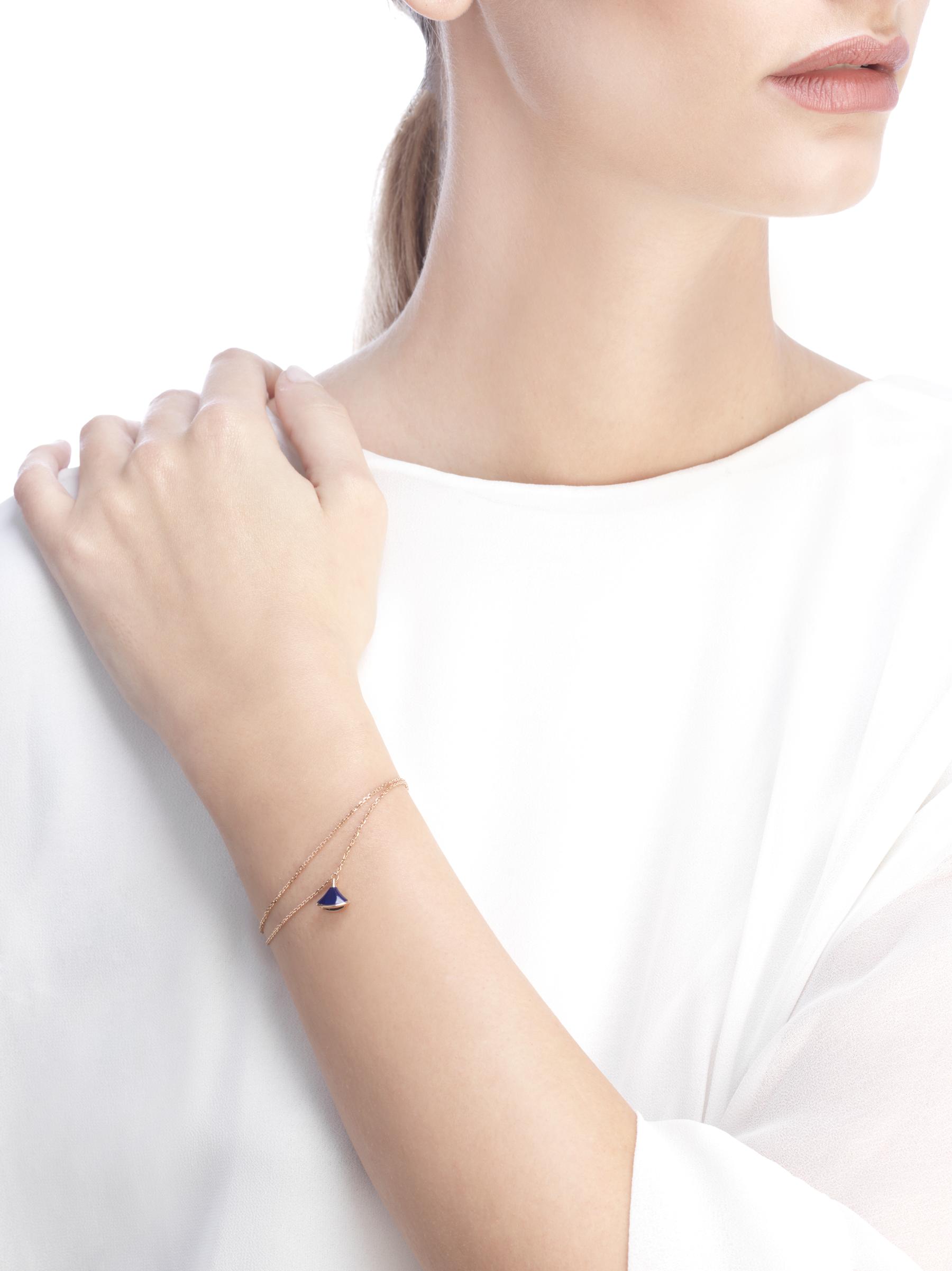 DIVAS' DREAM bracelet in 18 kt rose gold with pendant set with lapis lazuli. BR857290 image 3