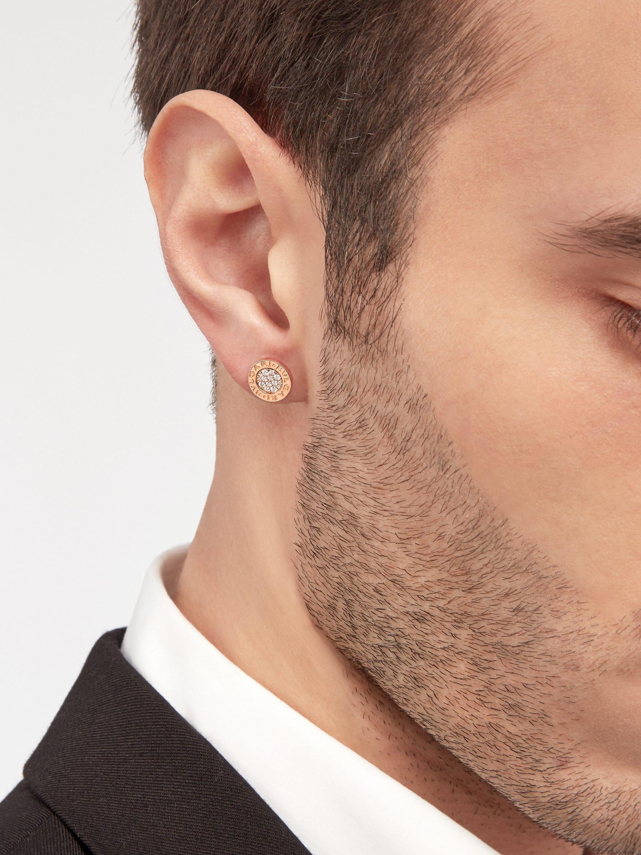 BVLGARI BVLGARI 18 kt rose gold single stud earring with pavé diamonds. 354731 image 5