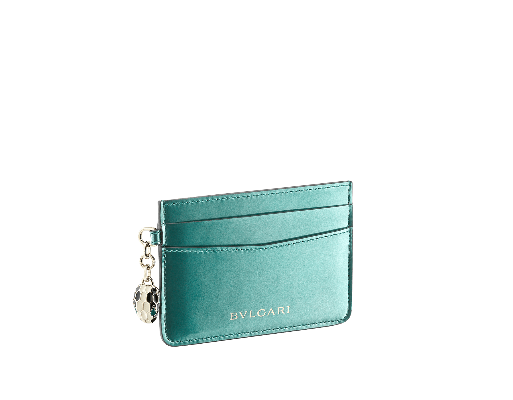 Serpenti Forever folded credit card holder in brushed metallic arctic jade calf leather. Iconic snakehead charm in black and white enamel, with green malachite enamel eyes. 289402 image 1