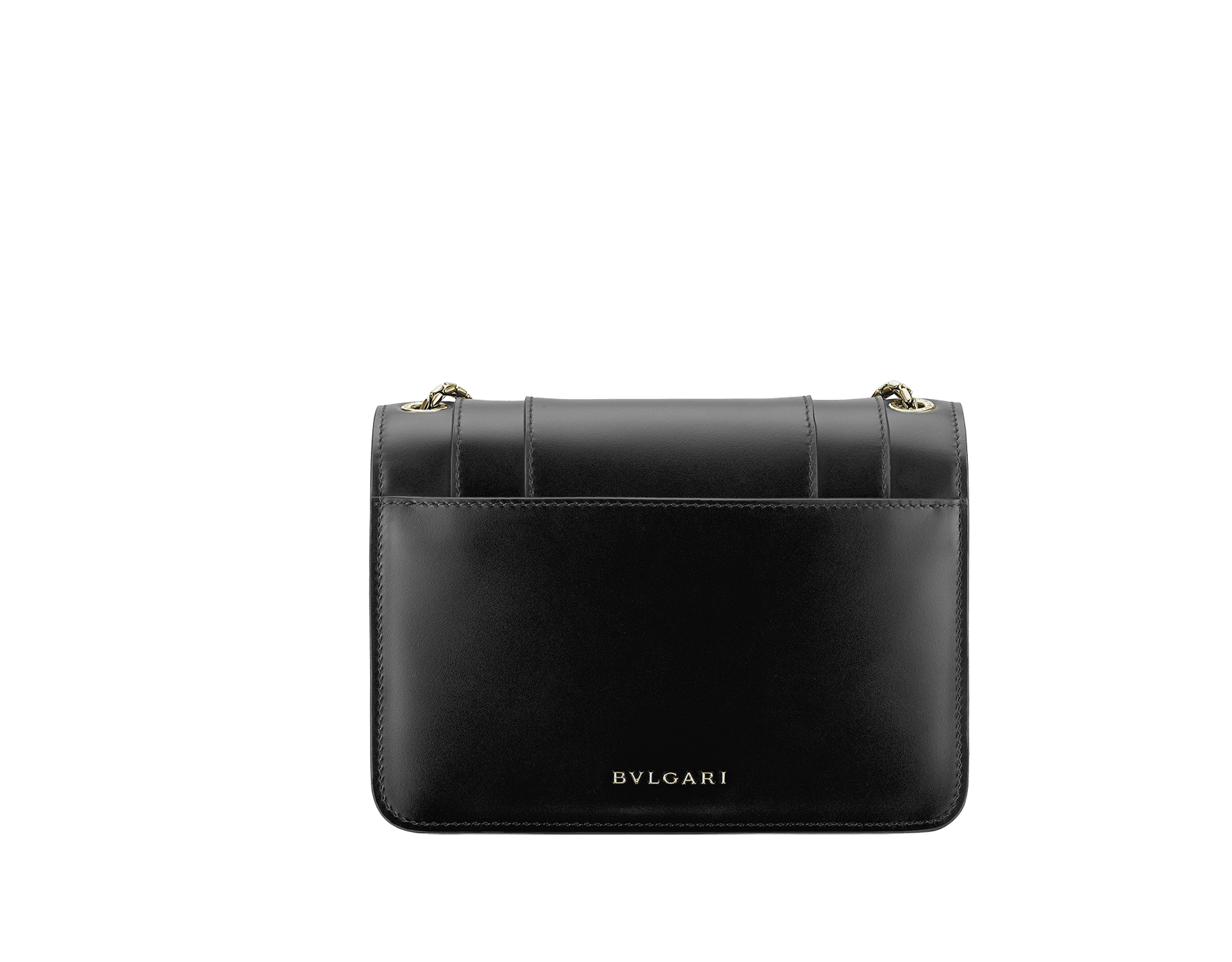 """Serpenti Forever"" crossbody bag in black calf leather. Iconic snakehead closure in light gold plated brass enriched with black and white agate enamel and green malachite eyes. 289677 image 4"