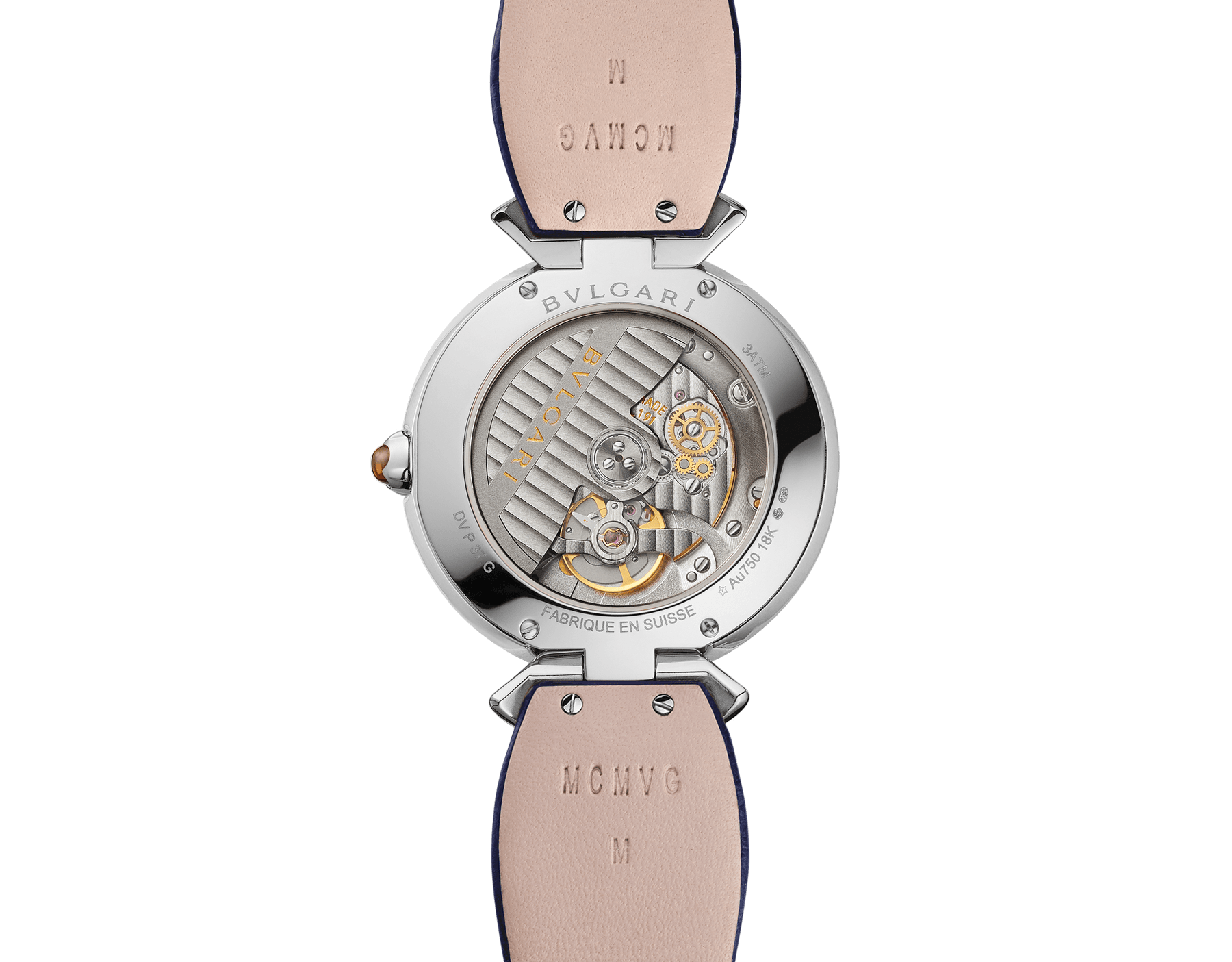 DIVAS' DREAM watch with mechanical manufacture movement, automatic winding, 18 kt white gold case, 18 kt white gold bezel and fan-shaped links both set with brilliant-cut diamonds, natural peacock feather dial and blue alligator bracelet 103263 image 5
