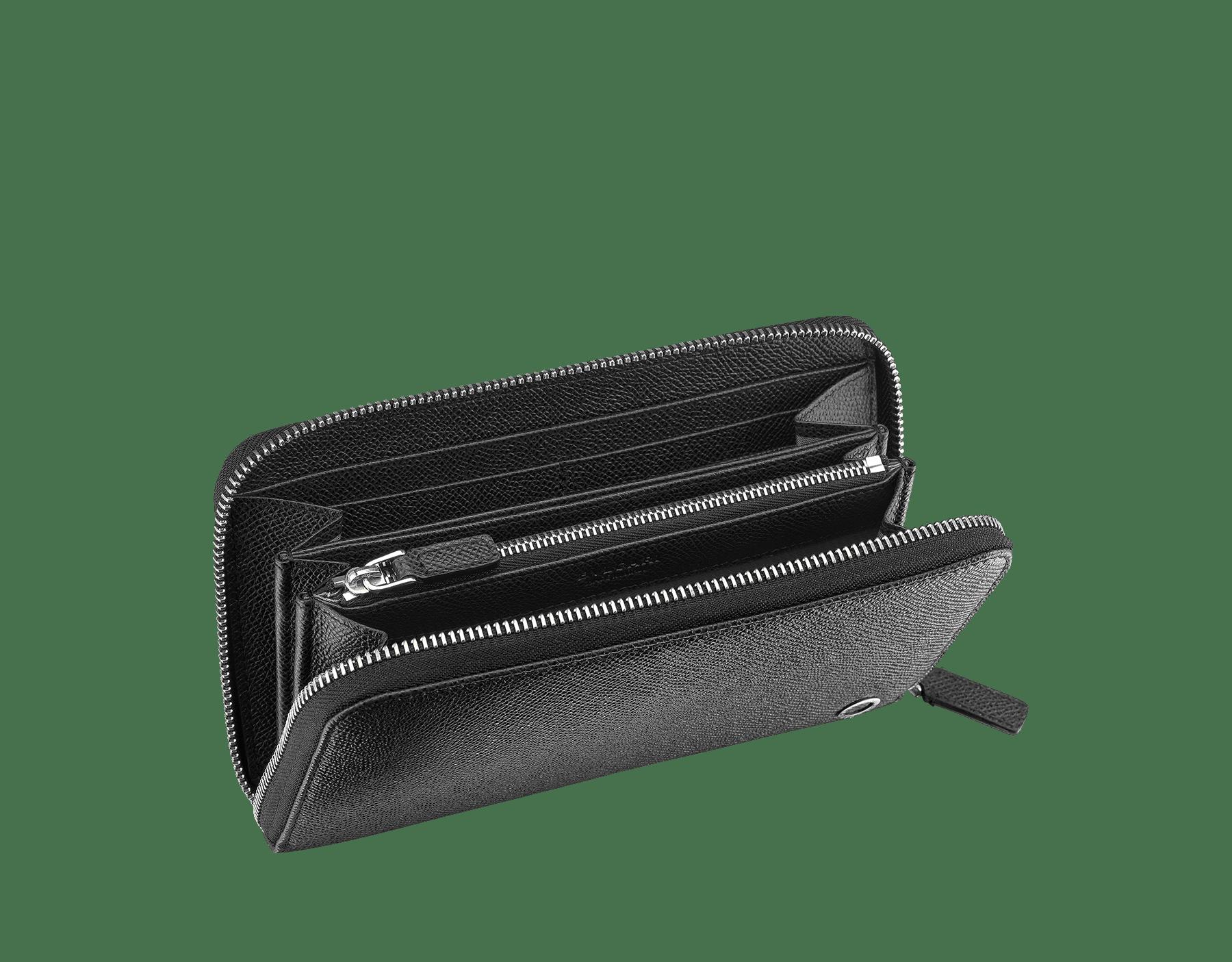 黑色珠面小牛皮拉鍊皮夾,皇家 Nappa 軟面皮襯裡。鍍鈀黃銅配飾,飾以經典 Bulgari-Bulgari 元素。 284230 image 2