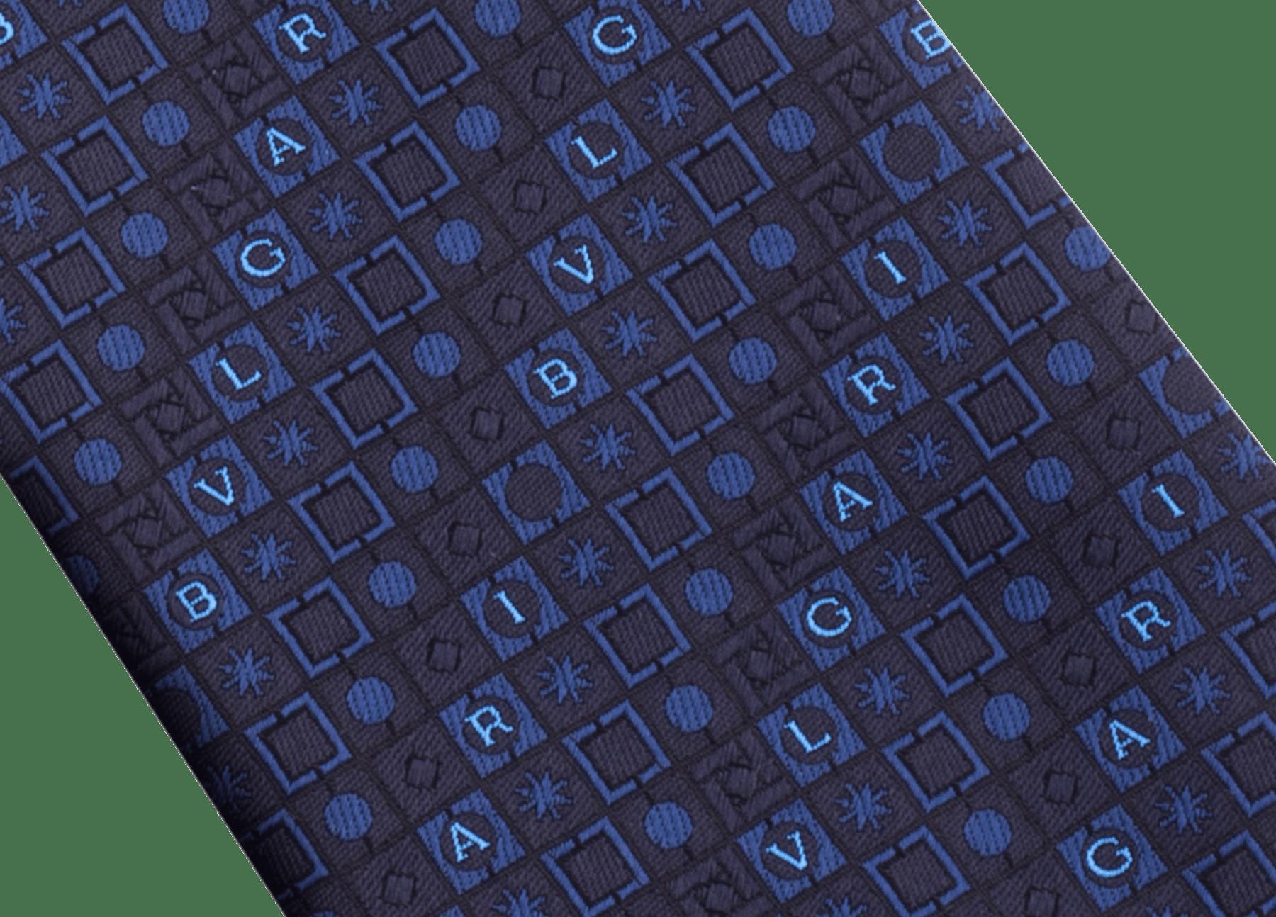Cravatta sette pieghe blu navy con motivo Logo Peter in pregiata seta saglione stampata. 243668 image 2