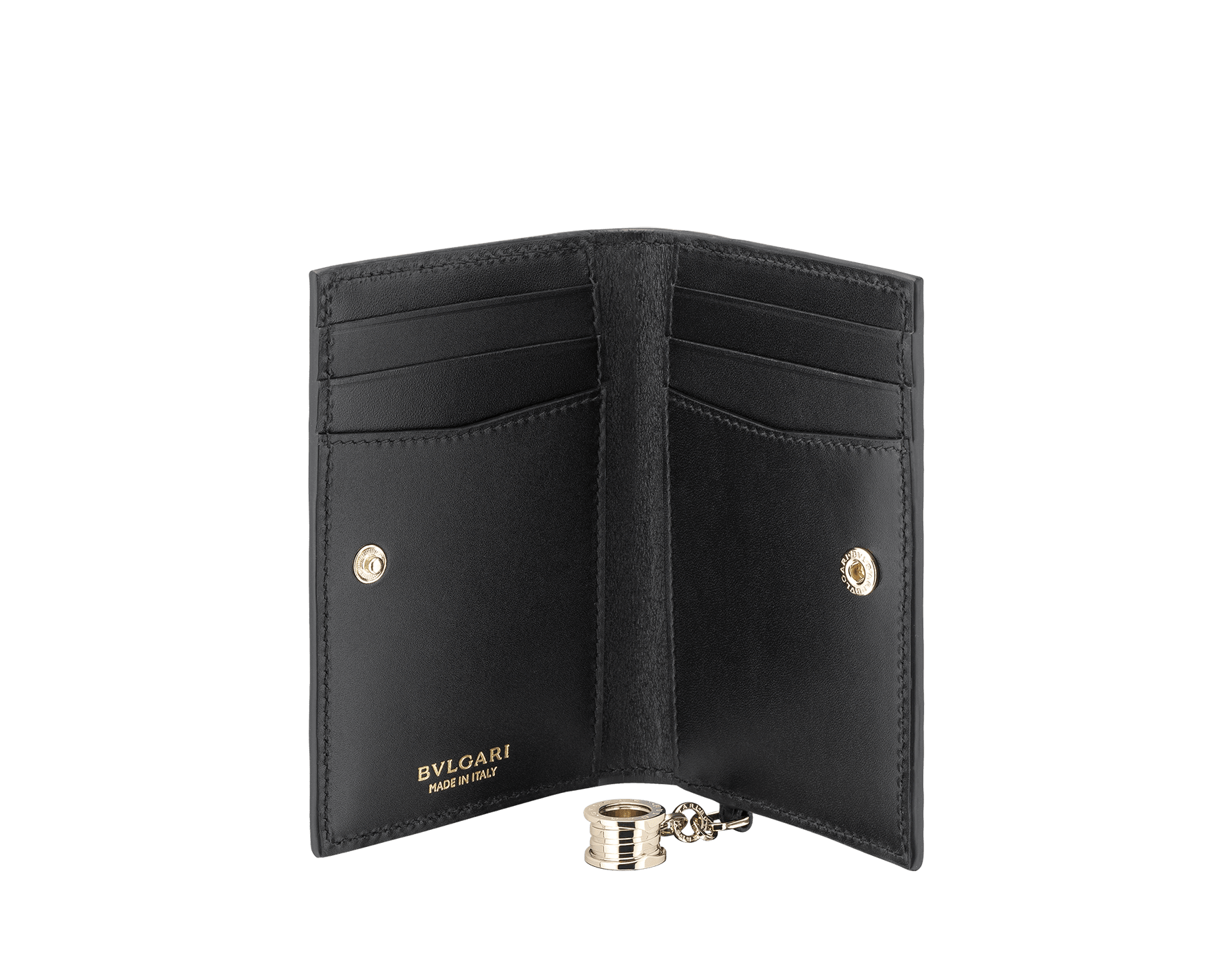 B.zero1 folded credit card holder in black goatskin. Iconic B.zero1 charm in light gold plated brass. 288236 image 2
