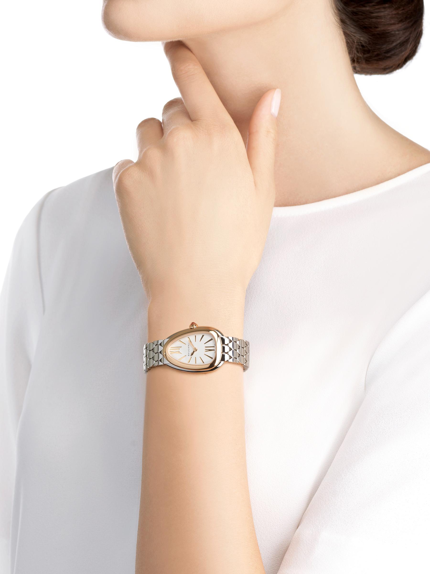 Relógio Serpenti Seduttori com caixa em aço, pulseira em aço, bezel em ouro rosa 18K e mostrador em opalina branco-prata. 103144 image 4