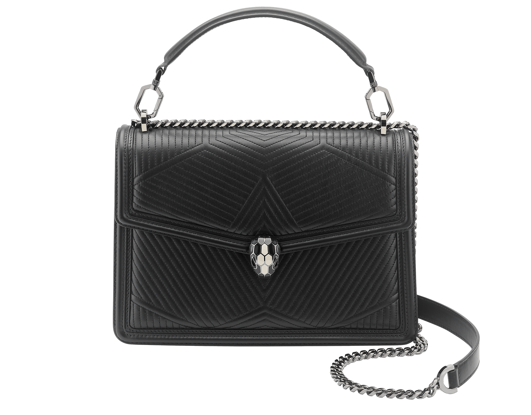 """Serpenti Diamond Blast"" shoulder bag in black quilted nappa leather body and black calf leather frames. Iconic snakehead closure in dark ruthenium plated brass enriched with black and white enamel and black onyx eyes. 973-FQDa image 1"
