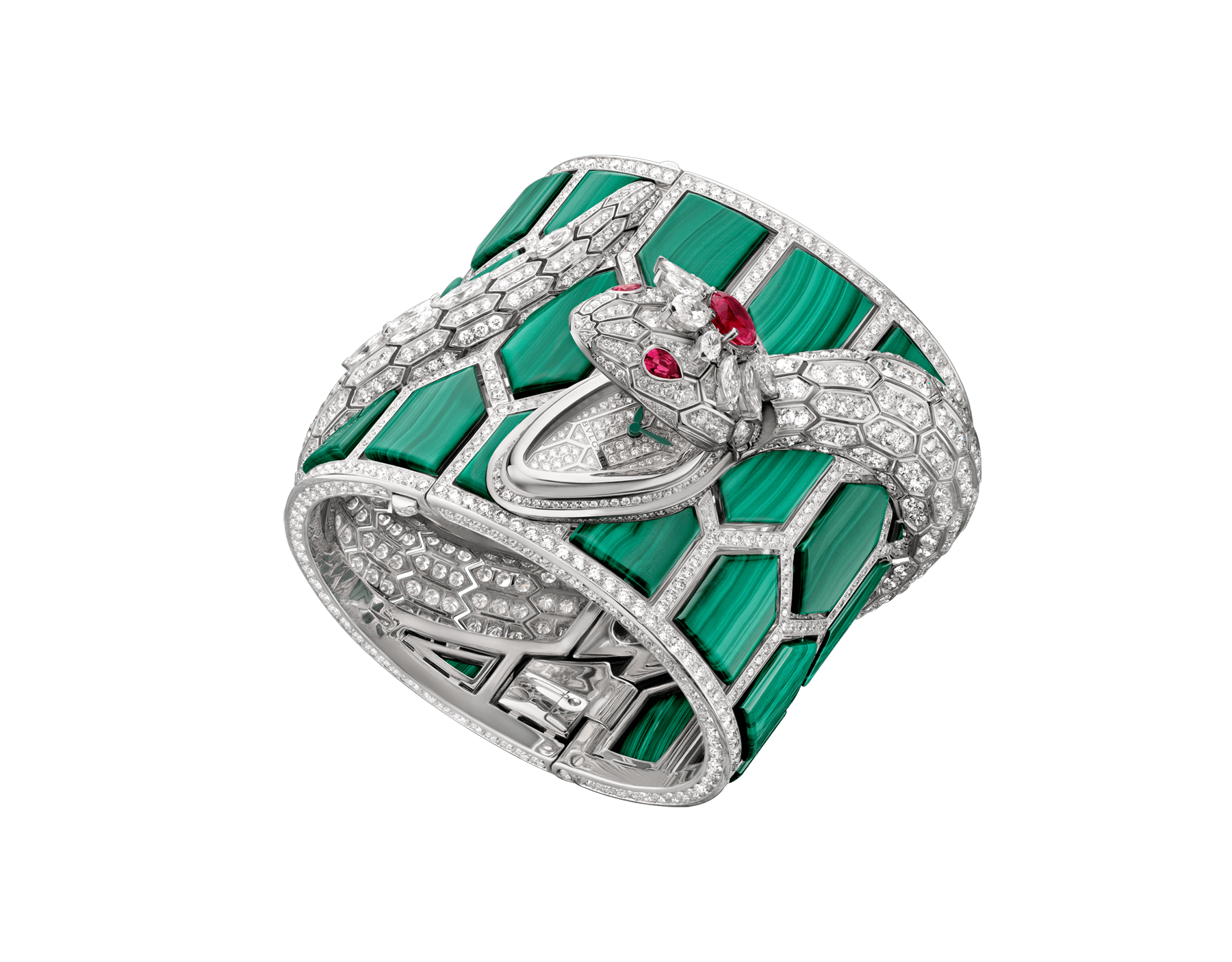 Serpenti Secret Watch with quartz movement, 18 kt white gold handcuff set with malachite elements and brilliant-cut diamonds, body of a snake set with brilliant-cut and marquise-shaped diamonds, one round brilliant-cut rubellite and pear-shaped rubellite eyes 102986 image 1