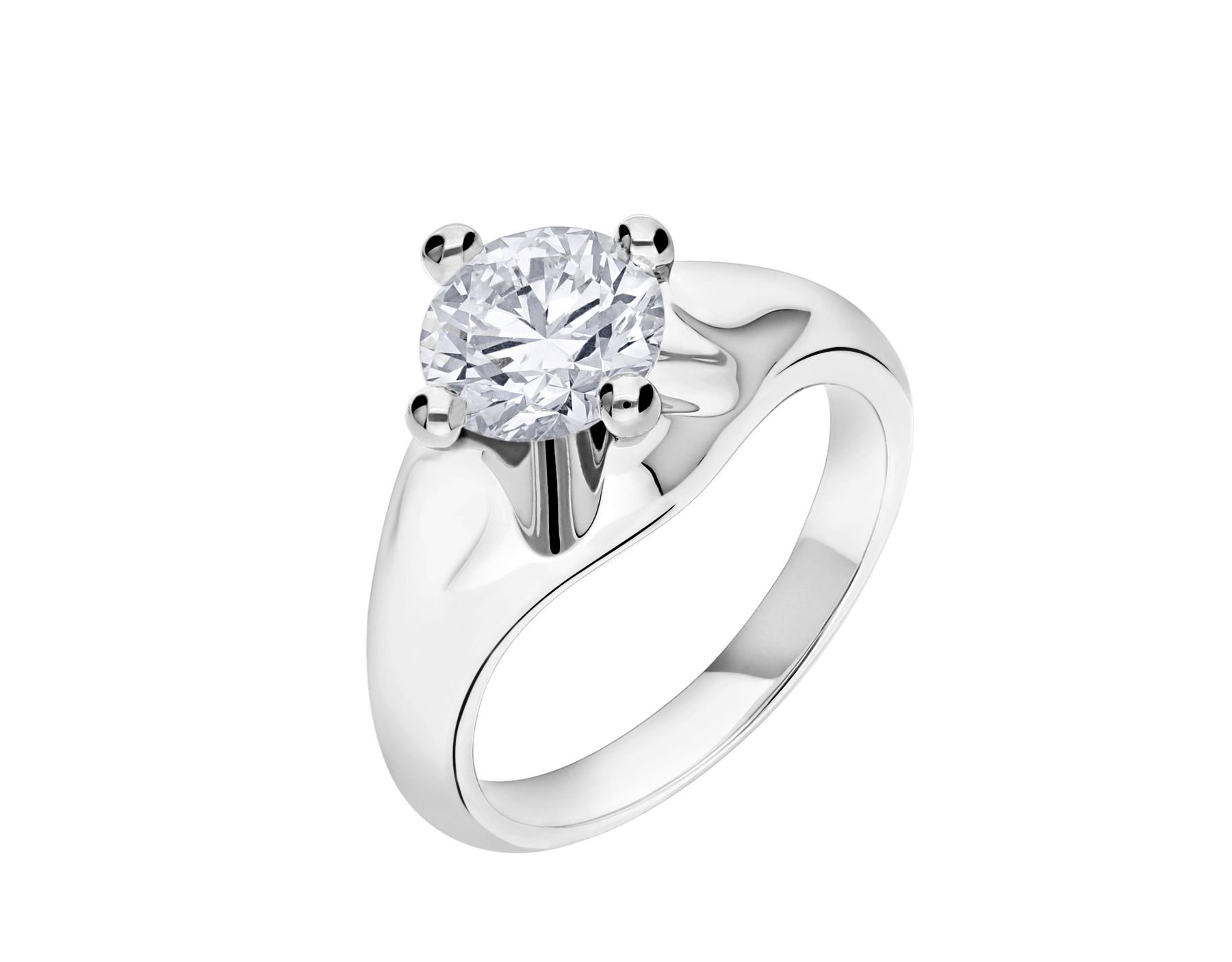 Corona platinum solitaire ring set with a round brilliant cut diamond 323743 image 2