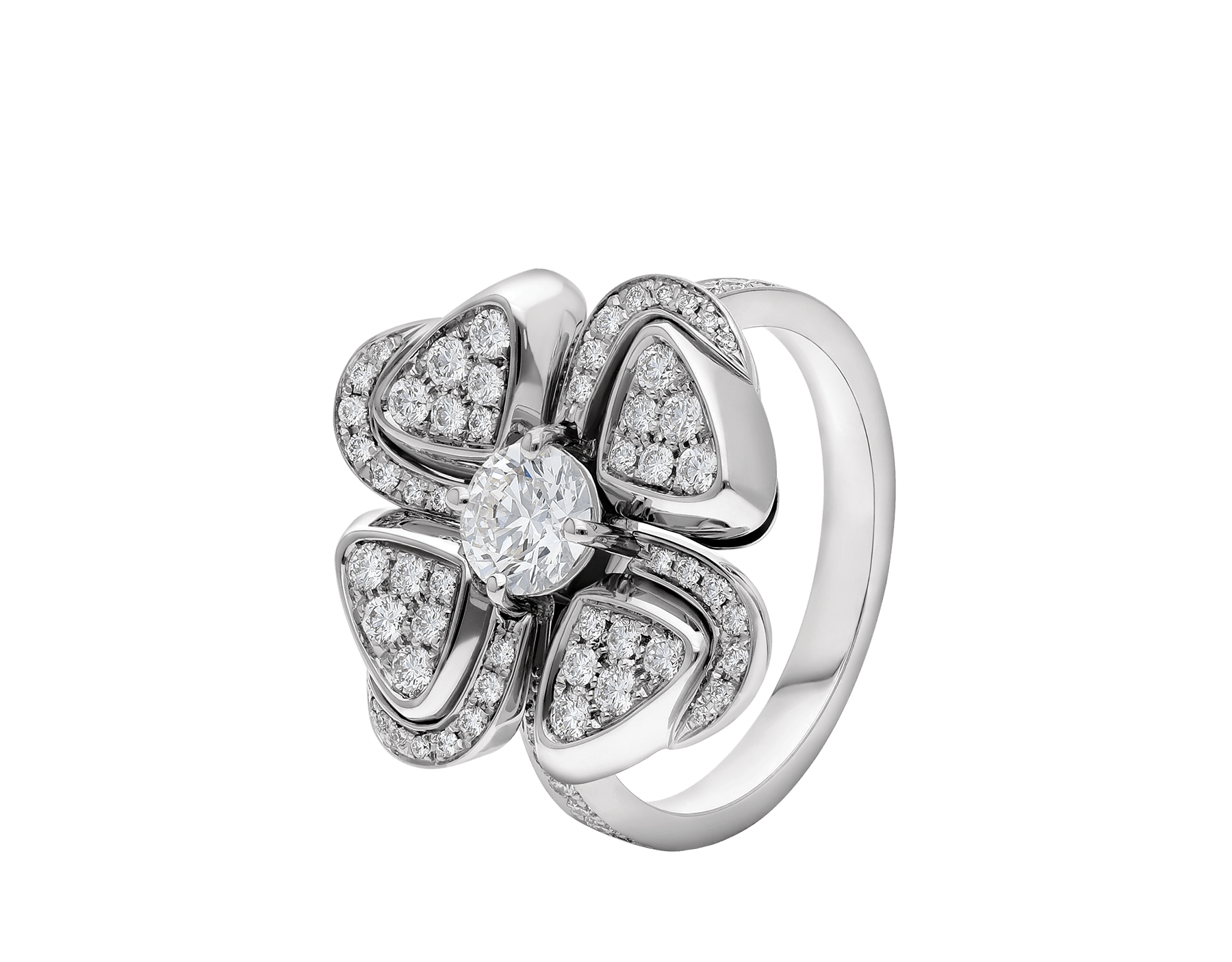 Fiorever 18 kt white gold ring set with a central diamond and pavé diamonds. AN858138 image 1