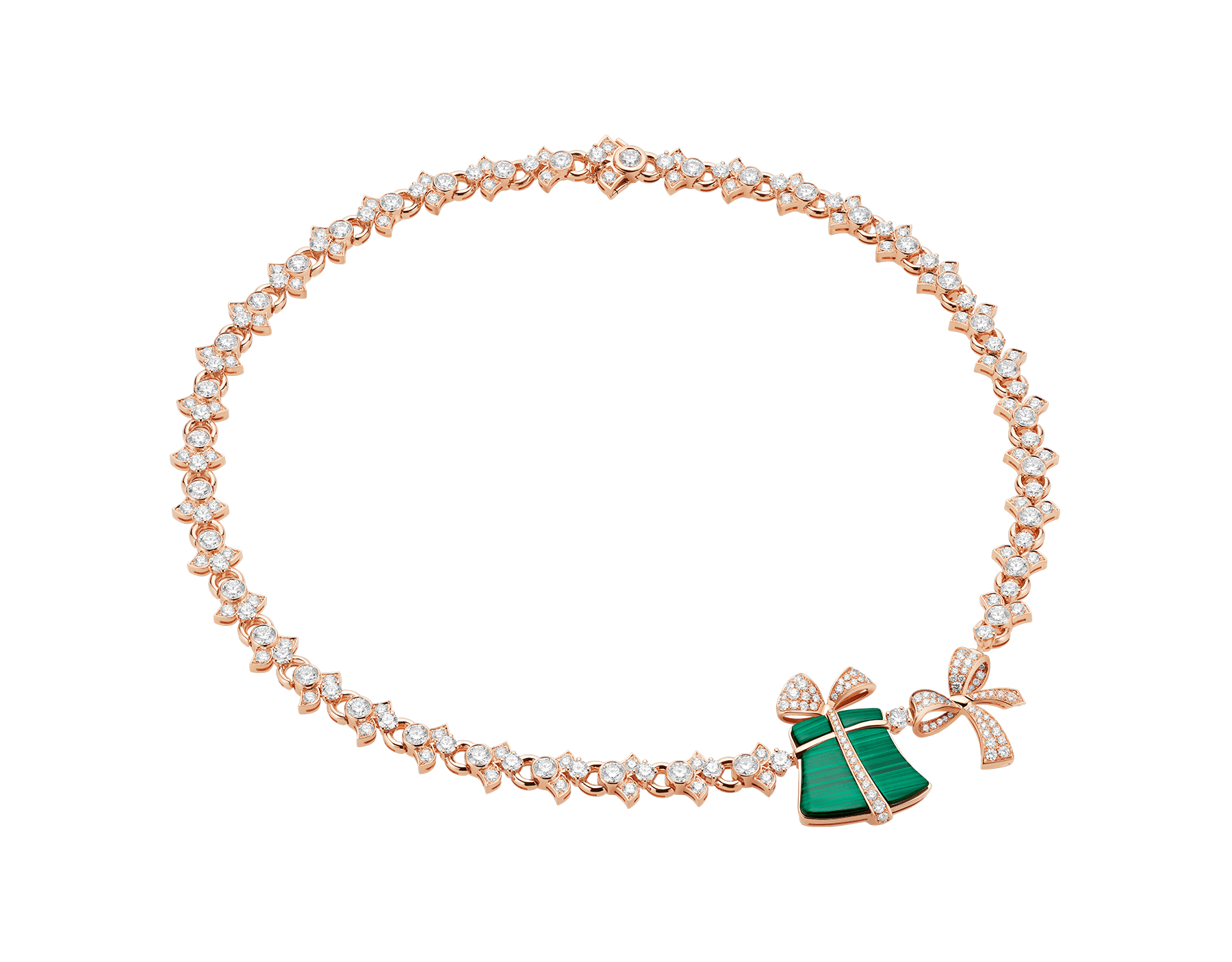 Festa 18 kt rose gold necklace set with malachite elements and pavé diamonds 355917 image 1