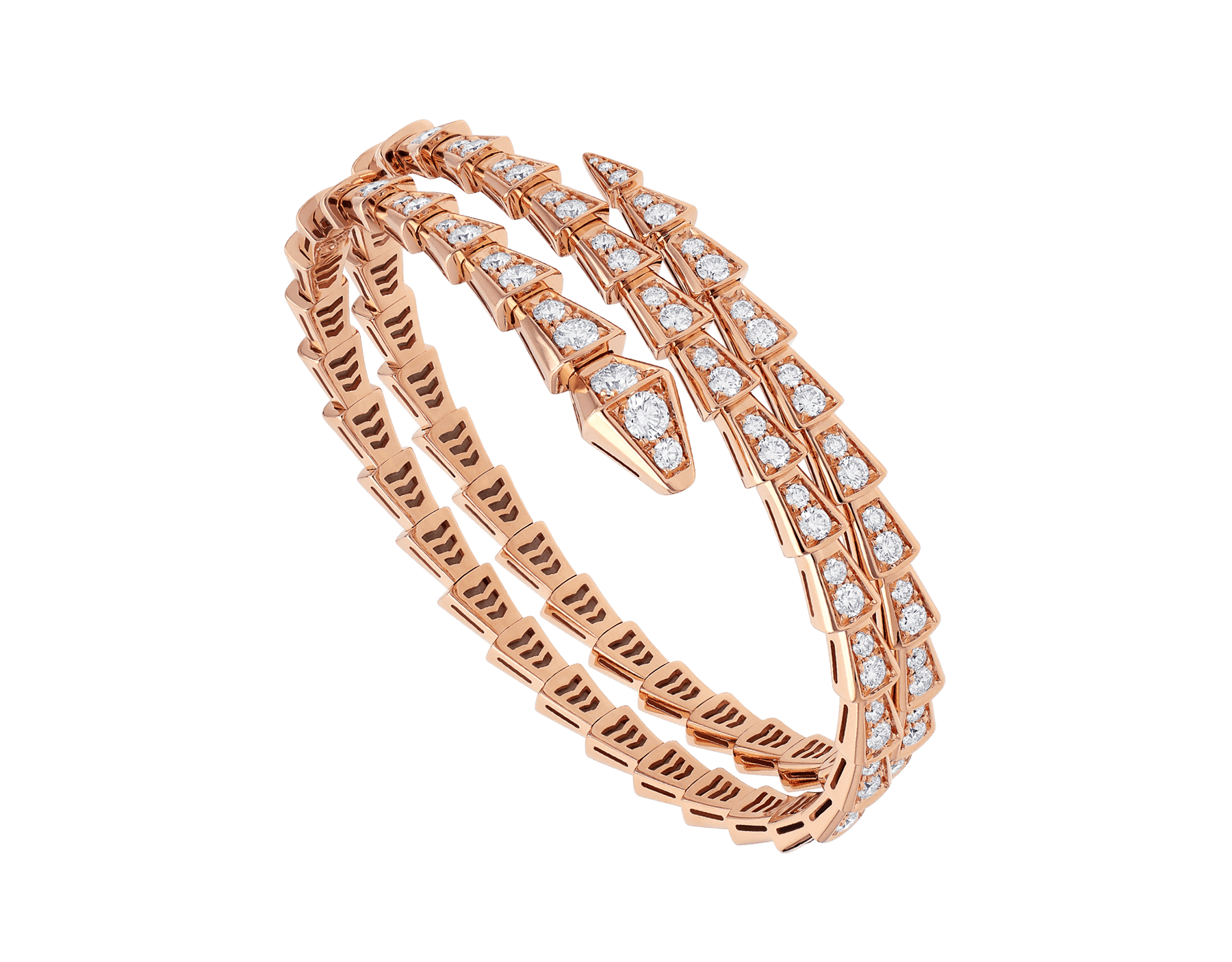18 K ピンクゴールド製セルペンティ ヴァイパー ダブルコイルブレスレット。パヴェダイヤモンドをあしらいました。 BR858796 image 1