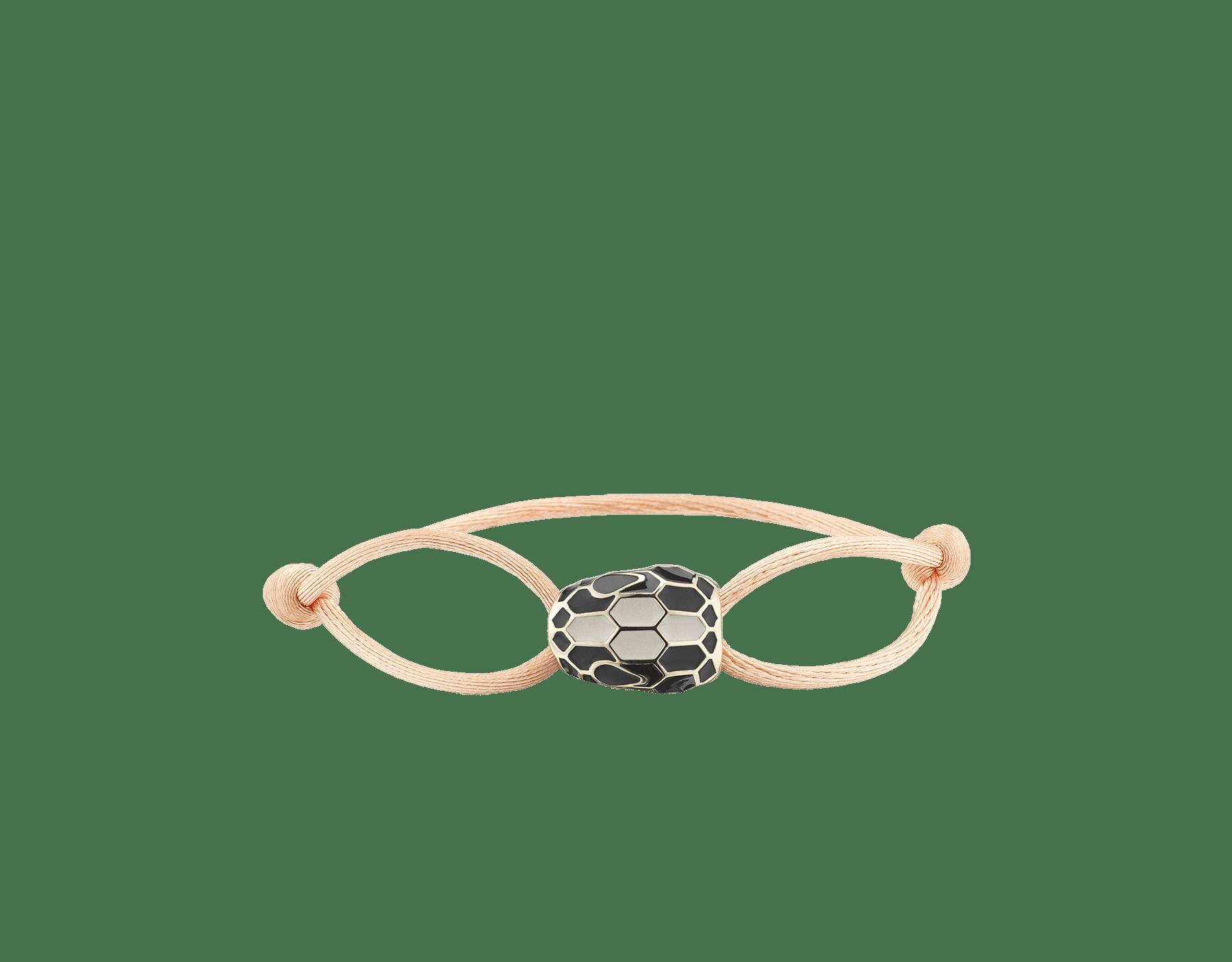 Браслет Serpenti Forever, ткань красного цвета оттенка Amaranth Garnet, фирменный декор в виде змеиной головы из латуни с покрытием из светлого золота с глазами из черной эмали и отделкой из черной эмали и эмали цвета белого агата. SERP-STRINGa image 1