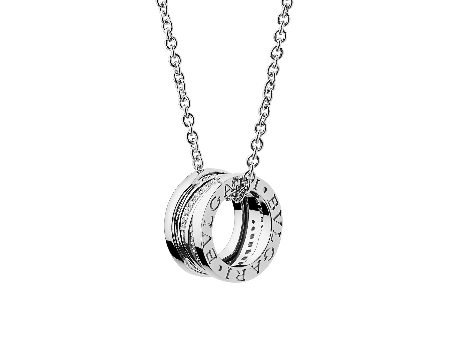 B.zero1 Design Legend necklace with 18 kt white gold pendant set with pavé diamonds on the spiral and 18 kt white gold chain. 355061 image 1