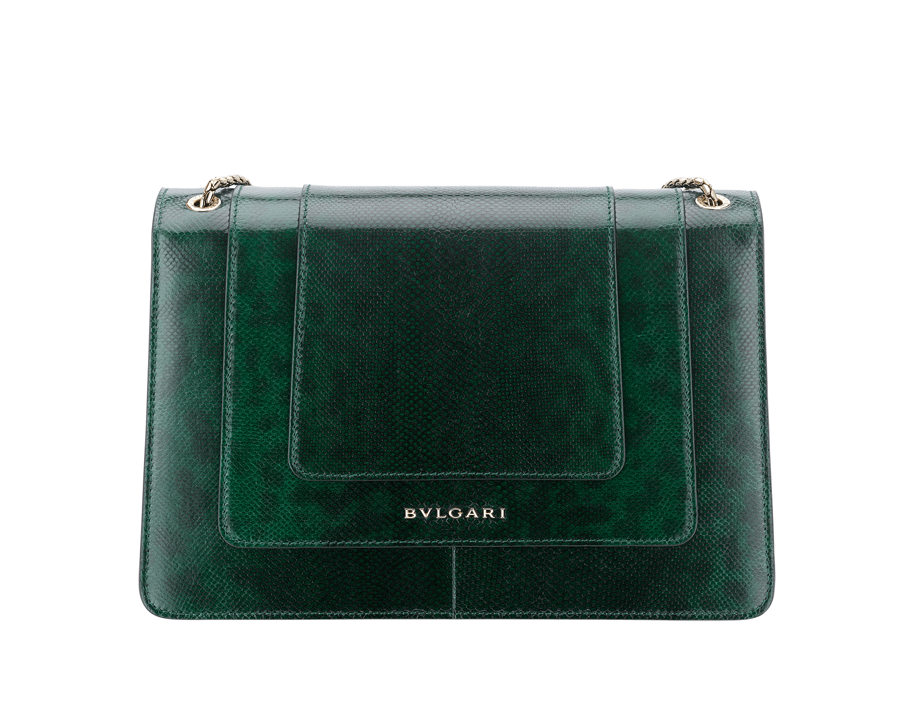Flap cover bag Serpenti Forever in roman garnet shiny karung skin. Brass light gold plated tempting snake head closure in shiny black and white enamel, with eyes in green malachite. 521-SK image 3