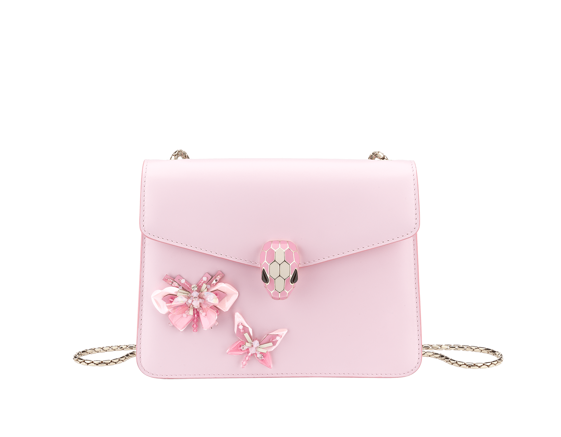 """Serpenti Forever"" crossbody bag in rosa di francia calf leather with two rosa di francia butterflies embroidered. Iconic snakehead closure in light gold plated brass enriched with rosa di francia and white agate enamel and black onyx eyes. 289239 image 1"
