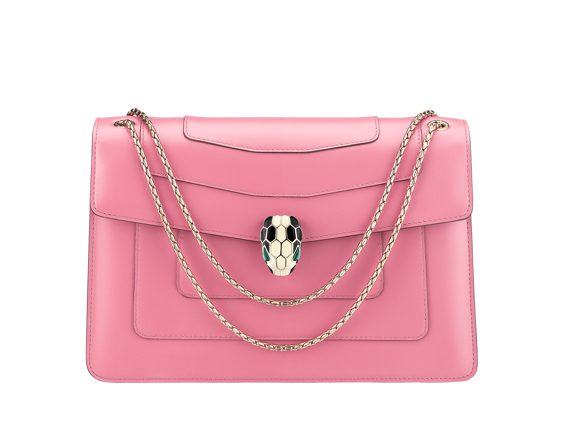 """""""Serpenti Forever"""" shoulder bag in candy quartz calf leather. Iconic snakehead closure in light gold plated brass enriched with black and white enamel and green malachite eyes 287036 image 1"""