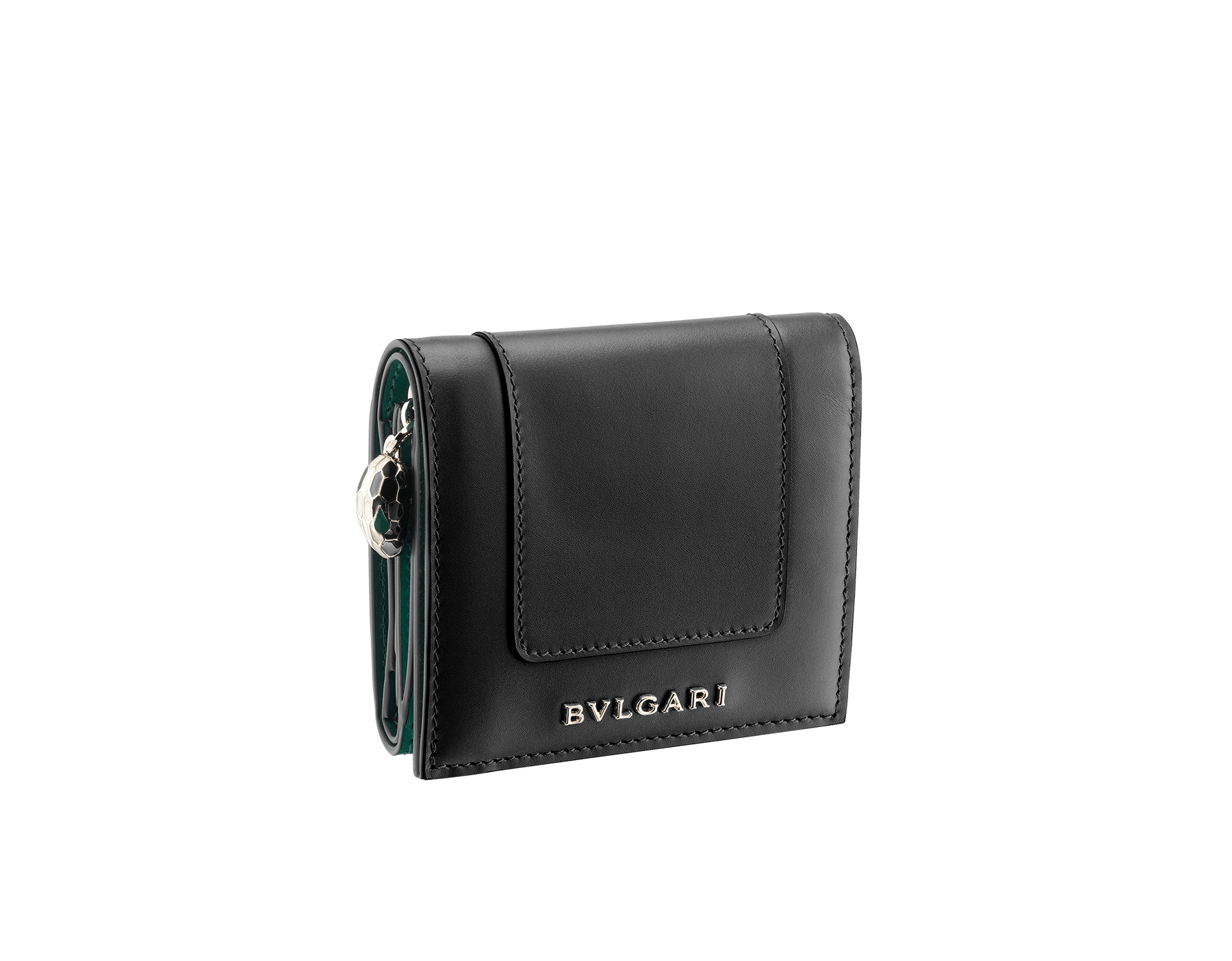 """""""Serpenti Forever"""" super compact wallet in mint and taffy quartz calf leather. Iconic snakehead zip puller in black and white agate enamel, with emerald green enamel eyes. SEA-SUPERCOMPACT-CLb image 1"""