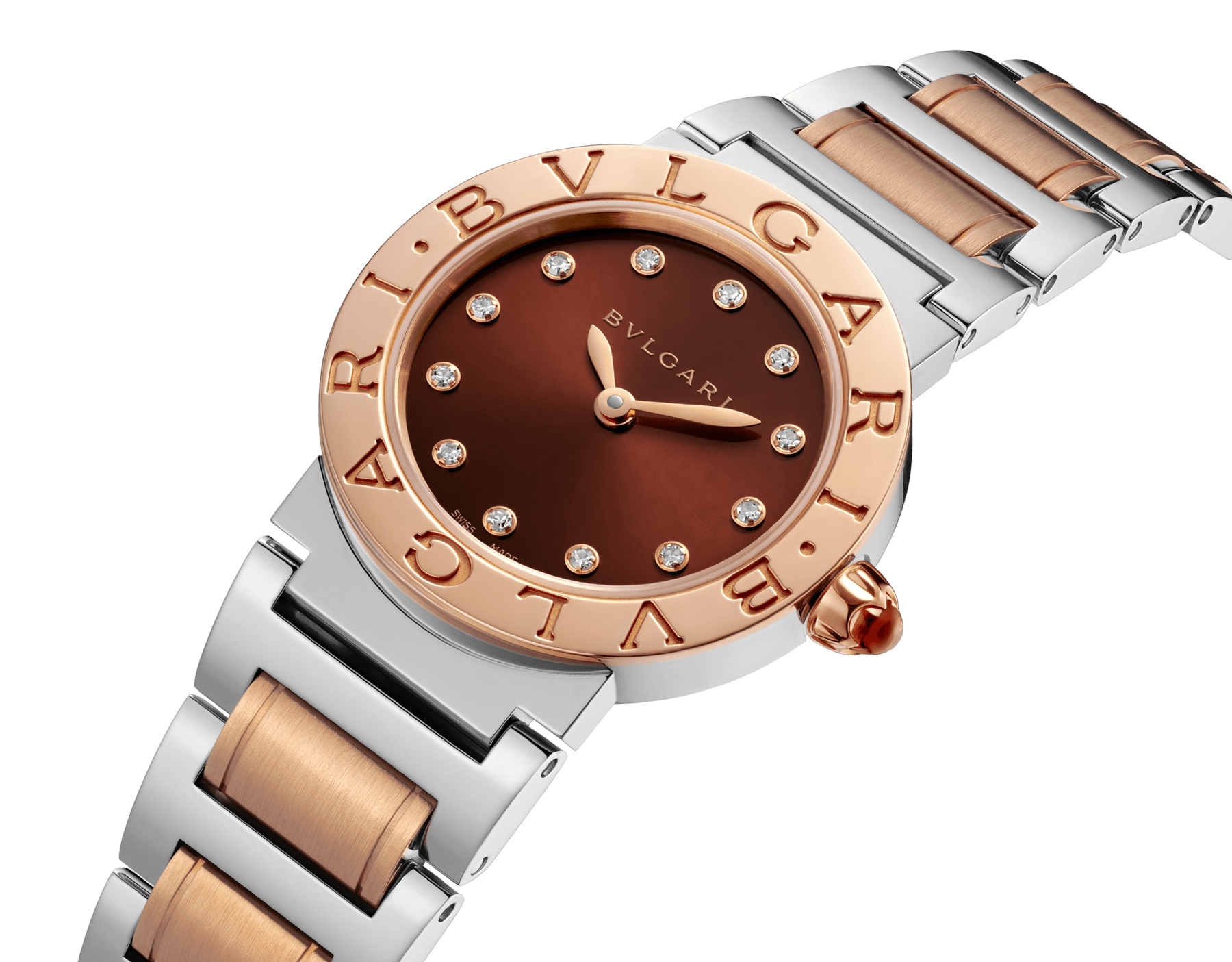 BVLGARI BVLGARI watch in stainless steel and 18 kt rose gold case and bracelet, with brown soleil lacquered dial and diamond indexes. Small model 102155 image 2
