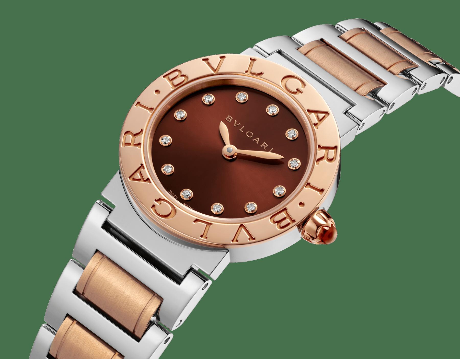 Montre BVLGARI BVLGARI avec boîtier et bracelet en or rose 18K et acier inoxydable, cadran laqué brun soleil et index sertis de diamants. Petit modèle. 102155 image 2
